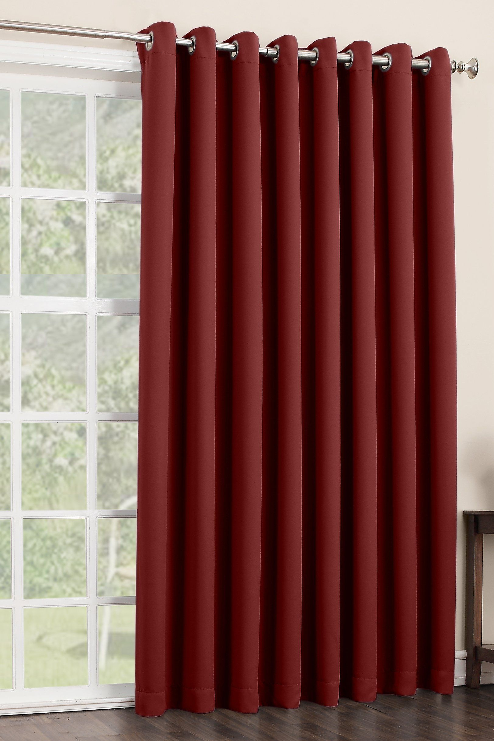 Amazon – Sun Zero Easton Extra Wide Blackout Patio In Nantahala Rod Pocket Room Darkening Patio Door Single Curtain Panels (View 12 of 20)