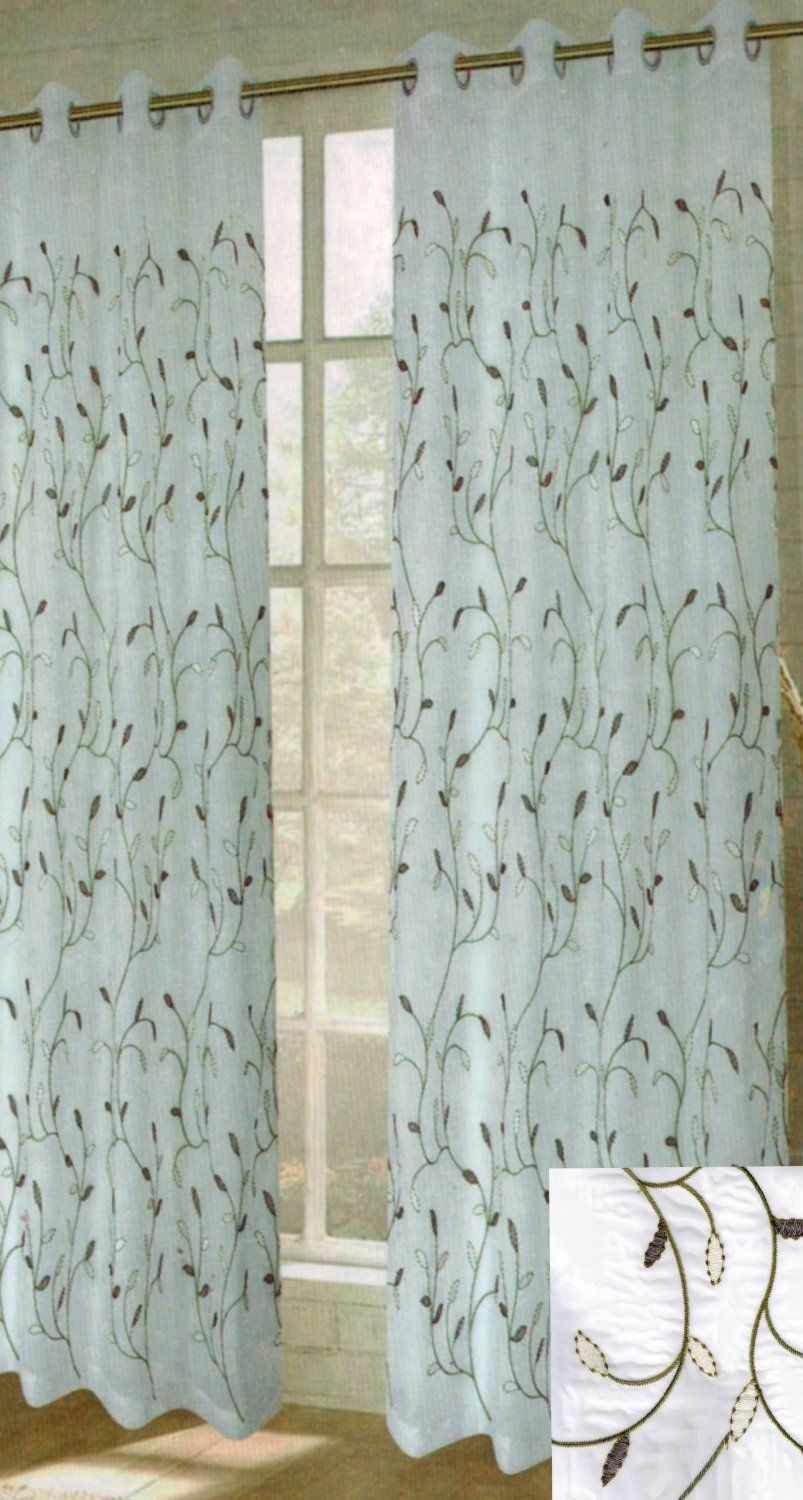 Amazon – Window Elements Wavy Leaves Embroidered Sheer Inside Wavy Leaves Embroidered Sheer Extra Wide Grommet Curtain Panels (View 6 of 30)