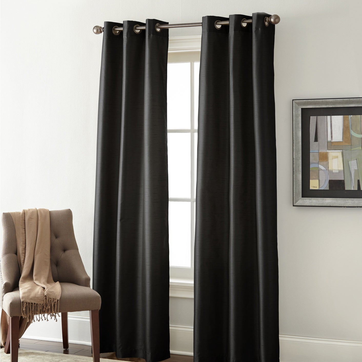 Featured Photo of Overseas Faux Silk Blackout Curtain Panel Pairs