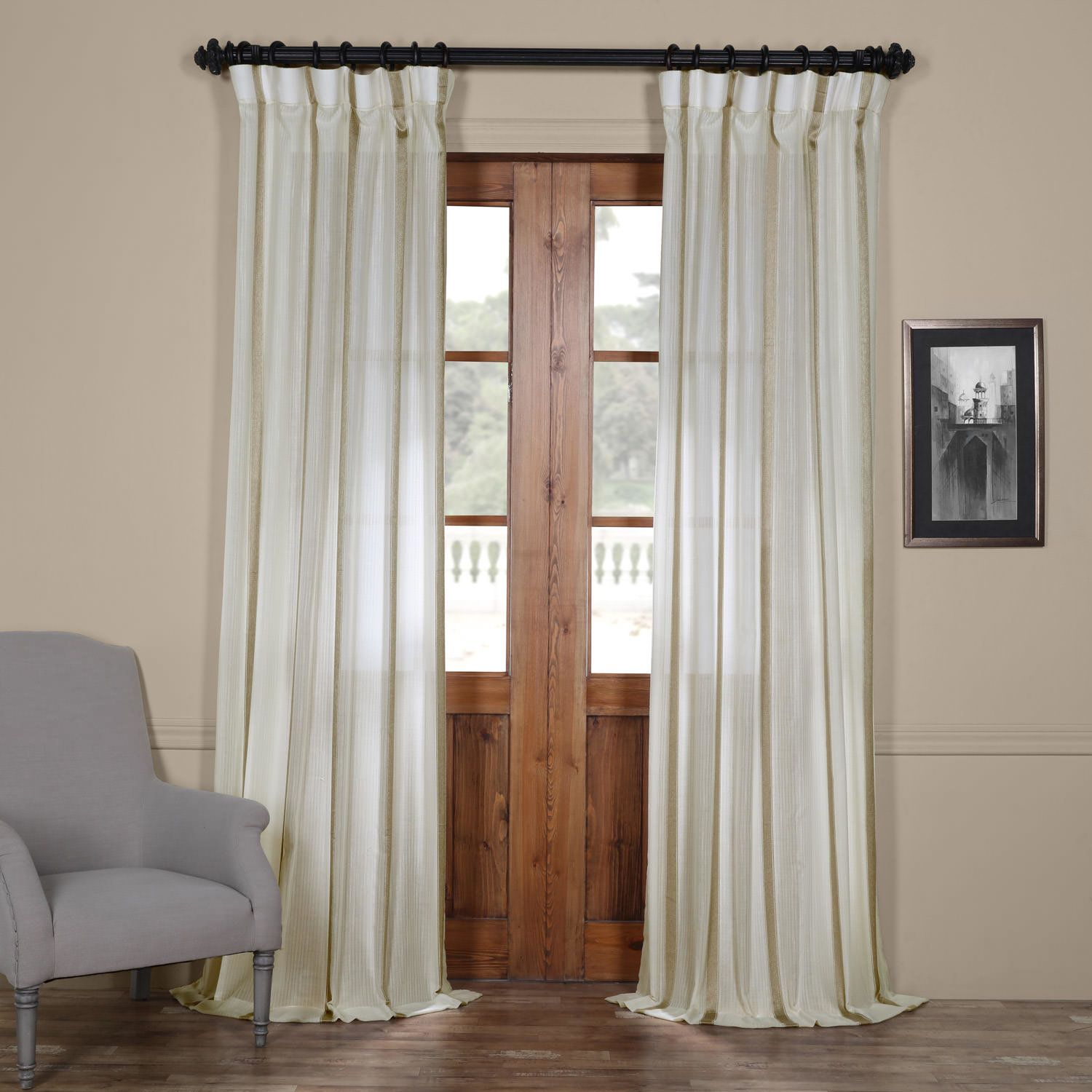 Antigua Solid Sheer Rod Pocket Single Curtain Panel Within Montpellier Striped Linen Sheer Curtains (View 9 of 20)