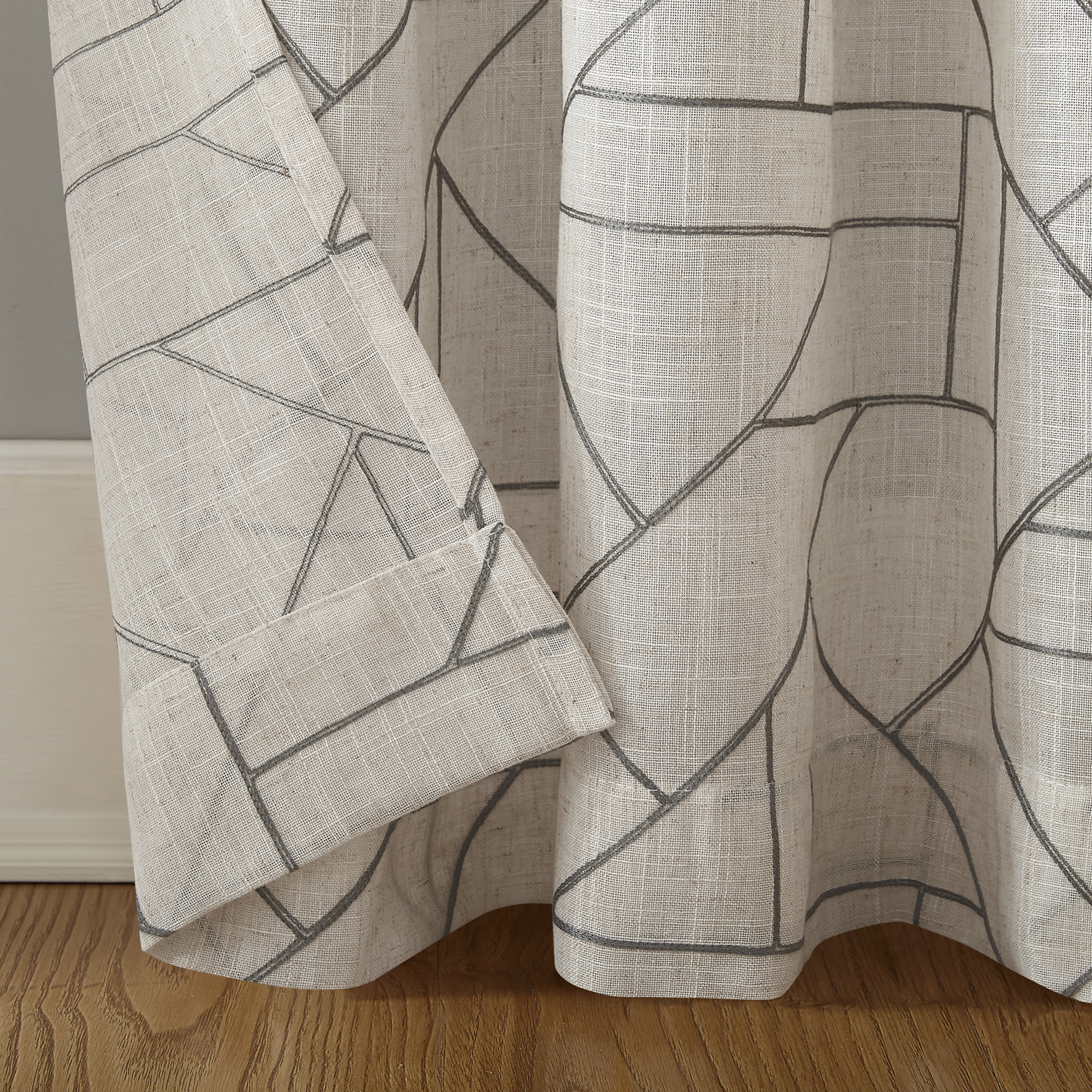 Archaeo Jigsaw Embroidery Linen Blend Curtain – Walmart With Archaeo Jigsaw Embroidery Linen Blend Curtain Panels (Image 5 of 20)