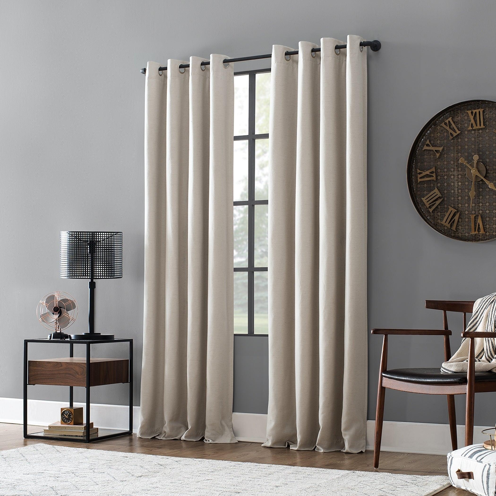 Archaeo Linen Blend Blackout Grommet Top Single Curtain Panel For Archaeo Slub Textured Linen Blend Grommet Top Curtains (View 15 of 20)