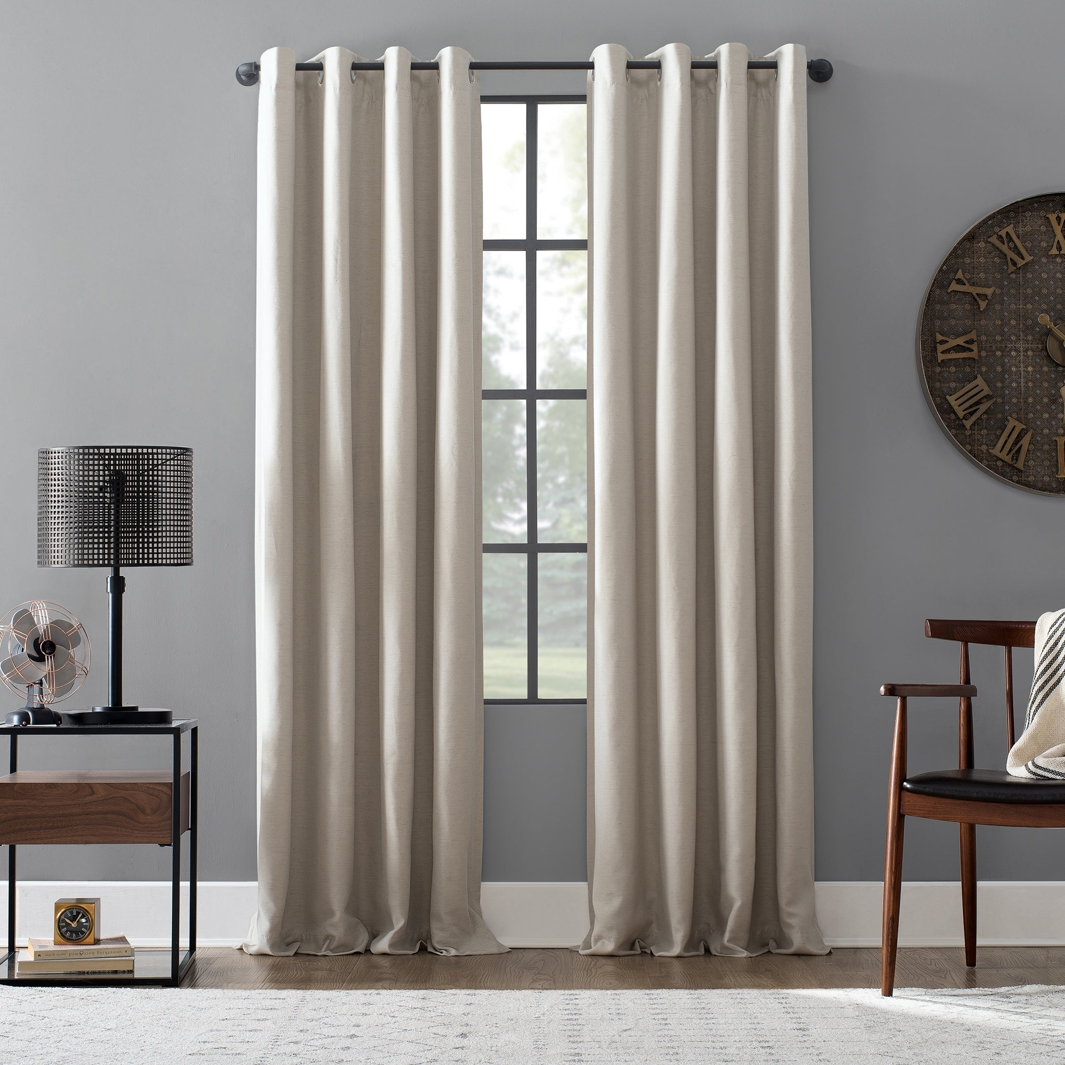 Archaeo Linen Blend Blackout Grommet Top Single Curtain Panel Pertaining To Archaeo Slub Textured Linen Blend Grommet Top Curtains (Image 3 of 20)