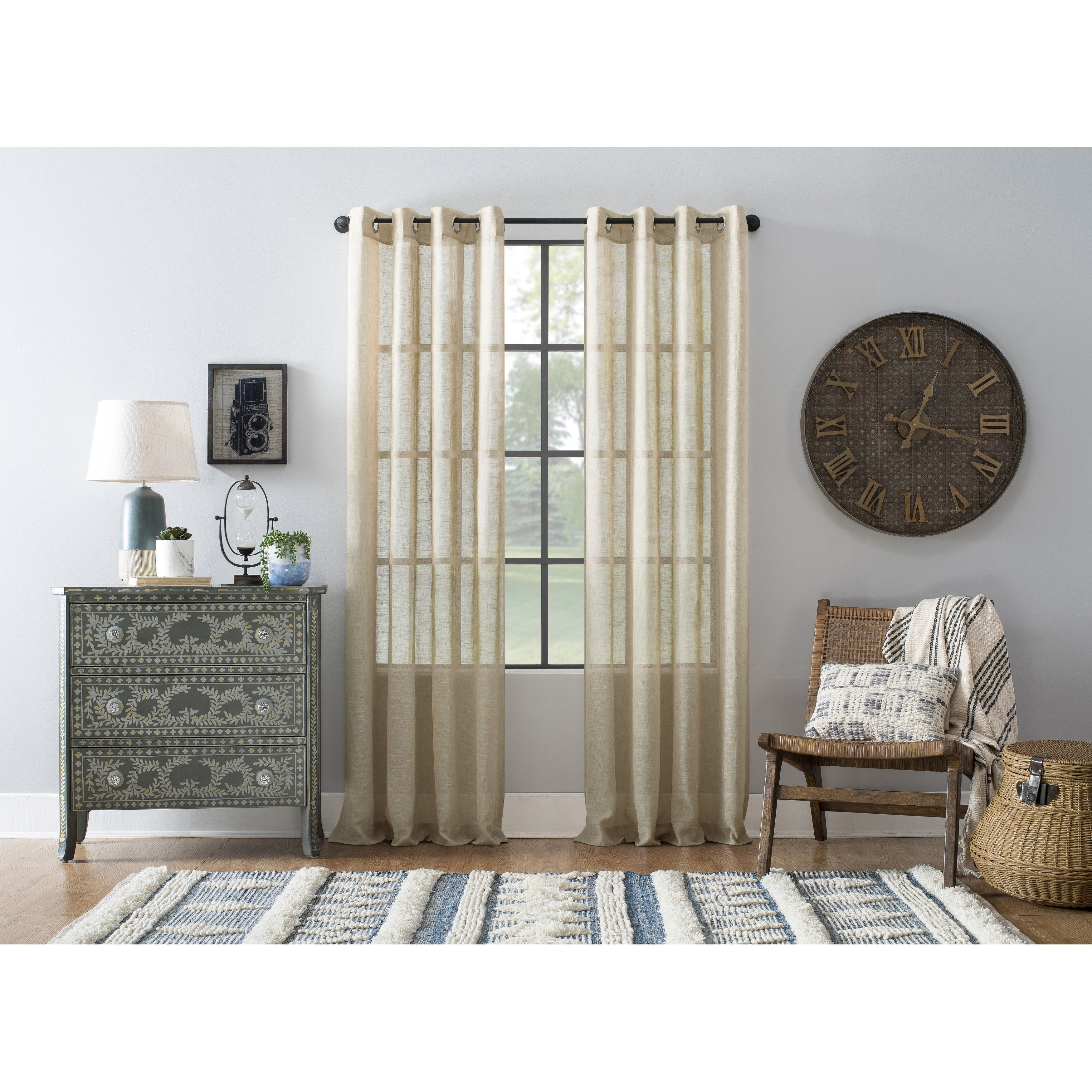 Archaeo Slub Textured Linen Blend Grommet Top Curtain In White – 52 X 84  (As Is Item) Intended For Archaeo Slub Textured Linen Blend Grommet Top Curtains (Image 6 of 20)