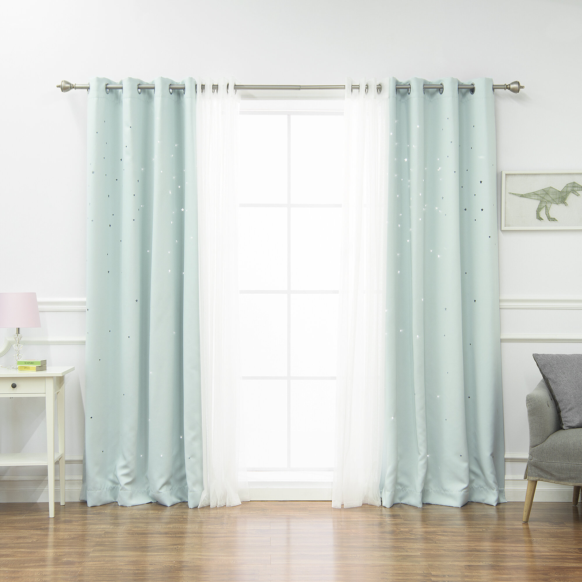 Arkose 4 Piece Tulle And Star Polka Dots Blackout Thermal Grommet Window Treatment Set Pertaining To Tulle Sheer With Attached Valance And Blackout 4 Piece Curtain Panel Pairs (View 23 of 30)