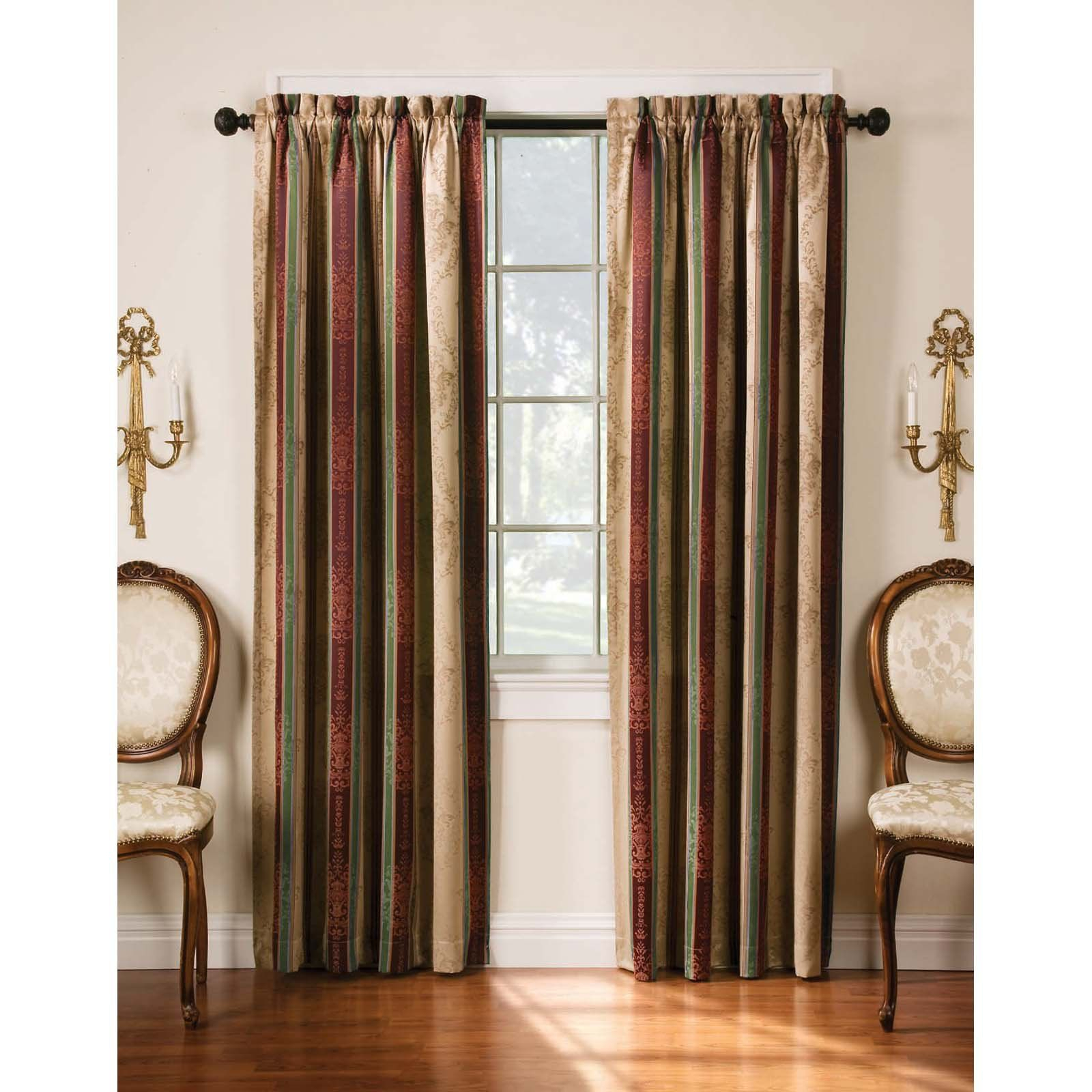 Arlee Home Fashions Tuscan Stripe Jacquard Blackout Panel Within Julia Striped Room Darkening Window Curtain Panel Pairs (View 14 of 20)