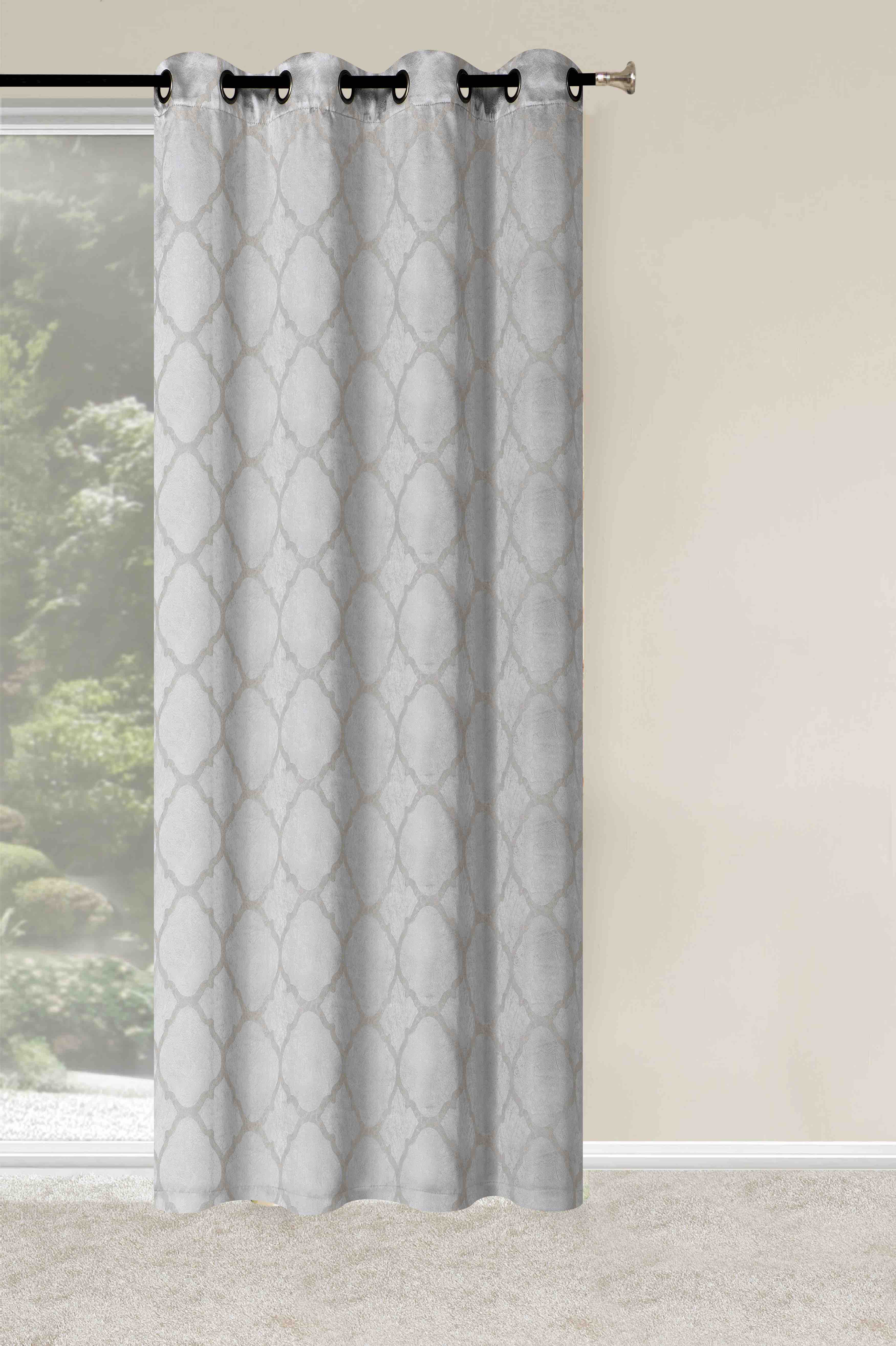 Arrowsmith Energy Saving Basic Metallic Lattice Geometric Blackout Thermal Grommet Curtain Panel Pair With Regard To Twig Insulated Blackout Curtain Panel Pairs With Grommet Top (View 21 of 30)