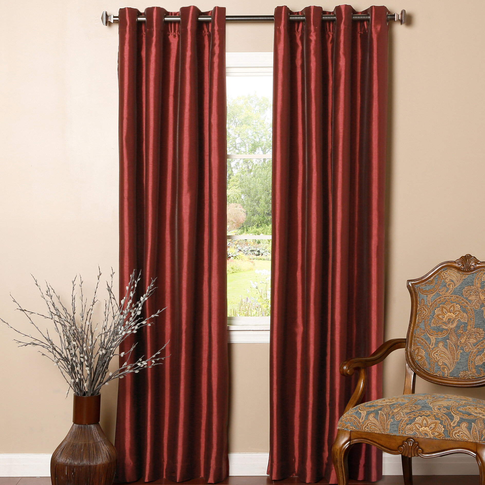 Astoria Grand Alcalde Striped Faux Solid Blackout Thermal Within Luxury Collection Faux Leather Blackout Single Curtain Panels (View 8 of 20)