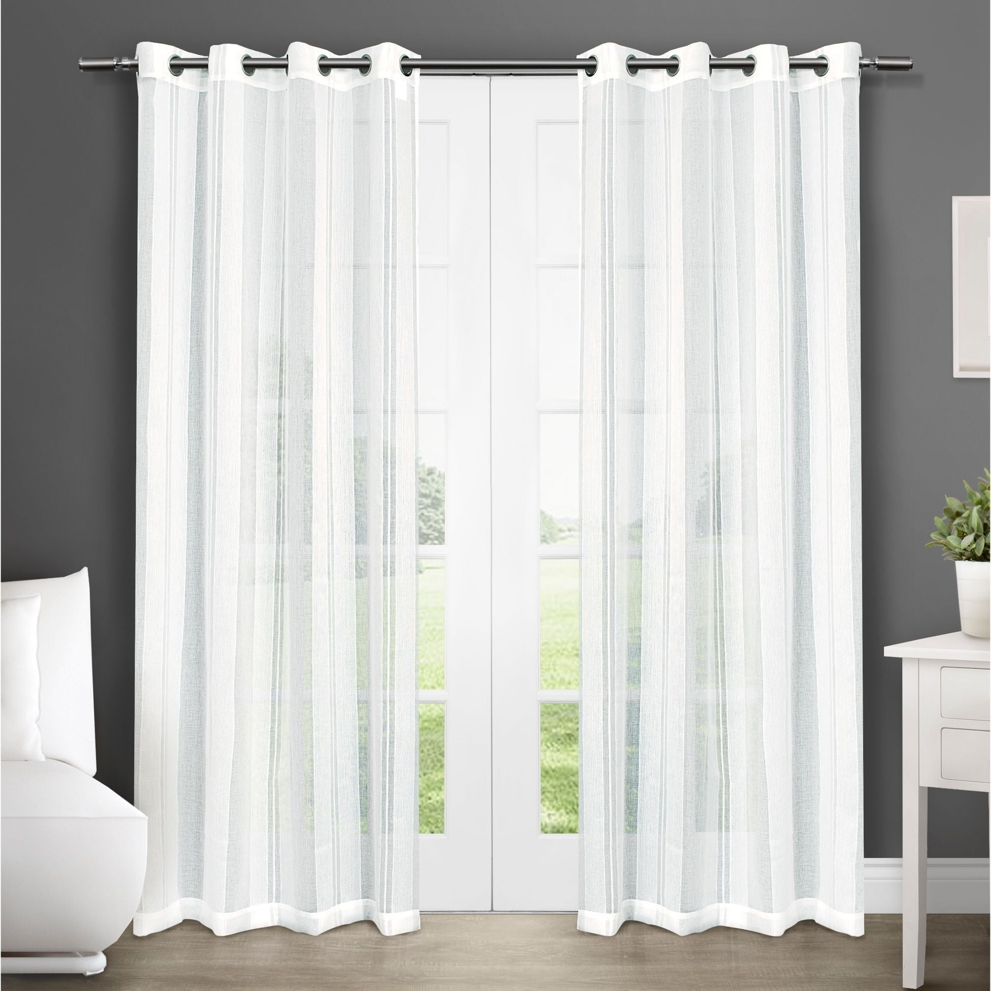 Ati Home Apollo Sheer Grommet Top Curtain Panel Pair Intended For Luxury Collection Cranston Sheer Curtain Panel Pairs (View 3 of 20)