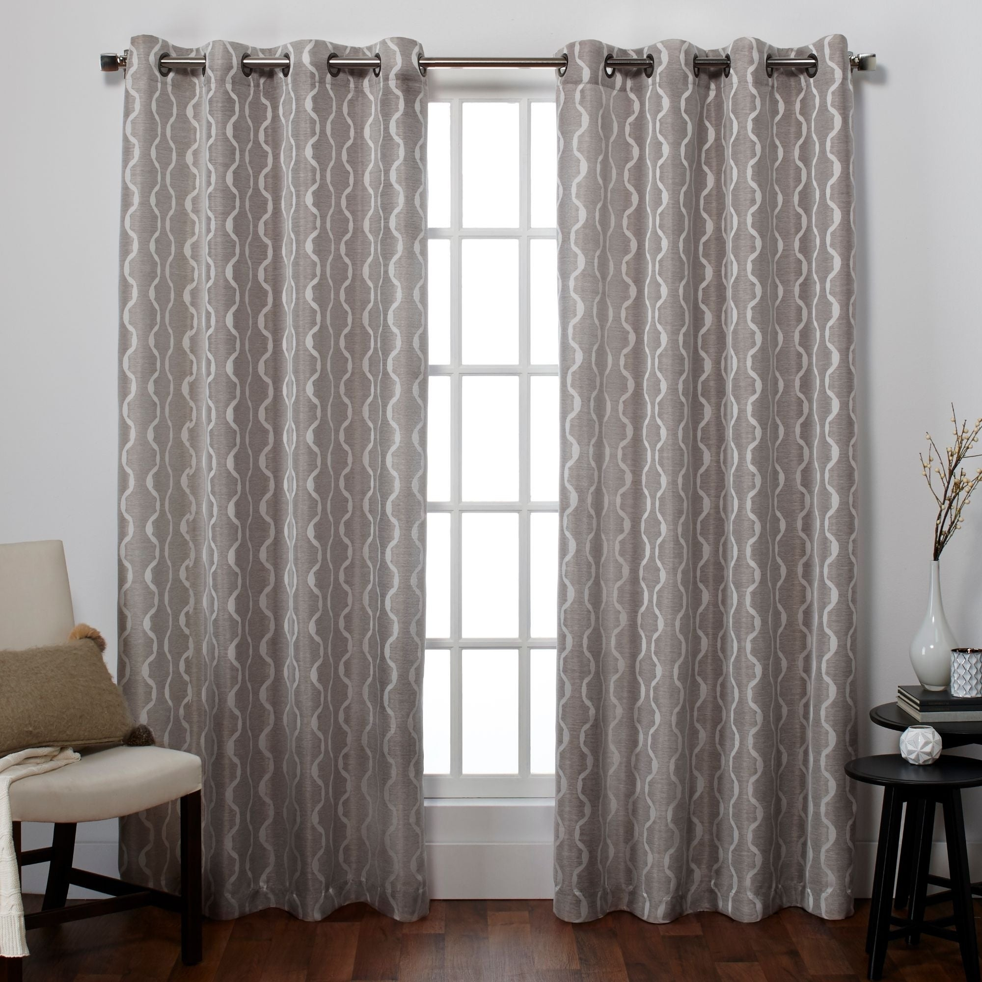 Ati Home Baroque Linen Grommet Top Curtain Panel Pair For Baroque Linen Grommet Top Curtain Panel Pairs (View 2 of 20)