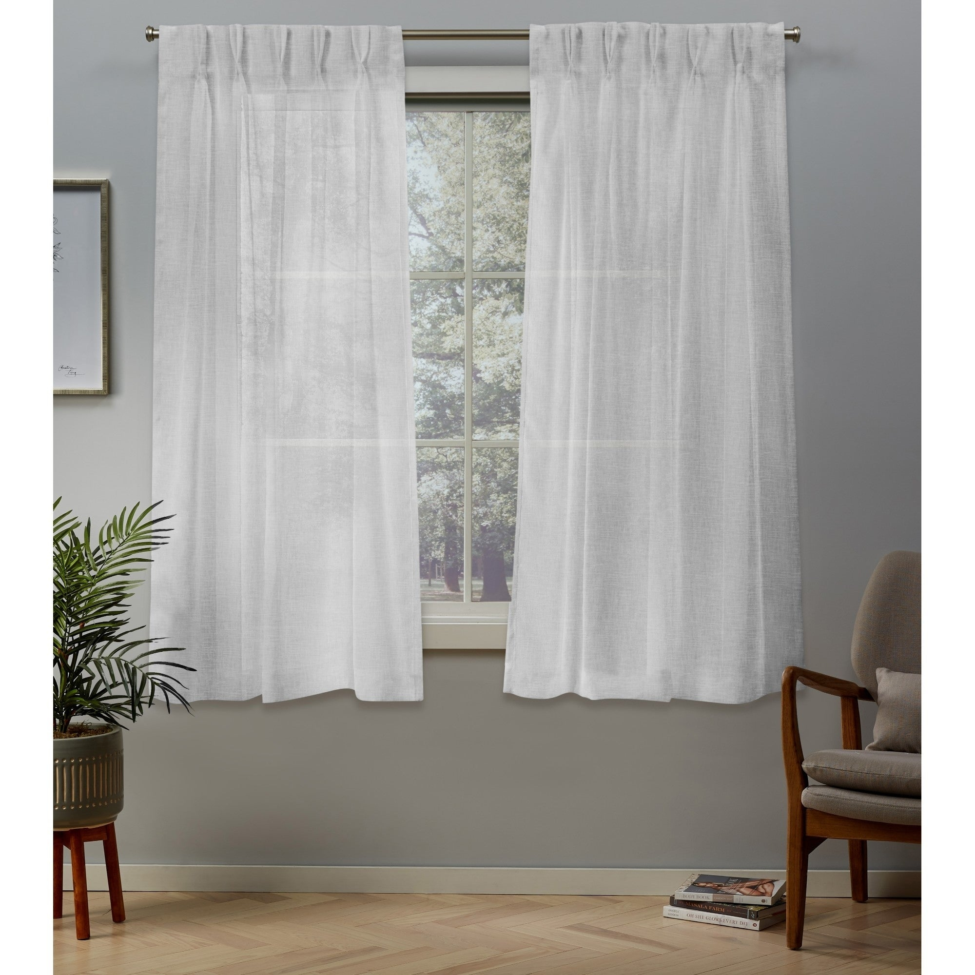 Ati Home Belgian Jacquard Sheer Double Pinch Pleat Top Curtain Panel Pair Pertaining To Double Pinch Pleat Top Curtain Panel Pairs (View 2 of 20)