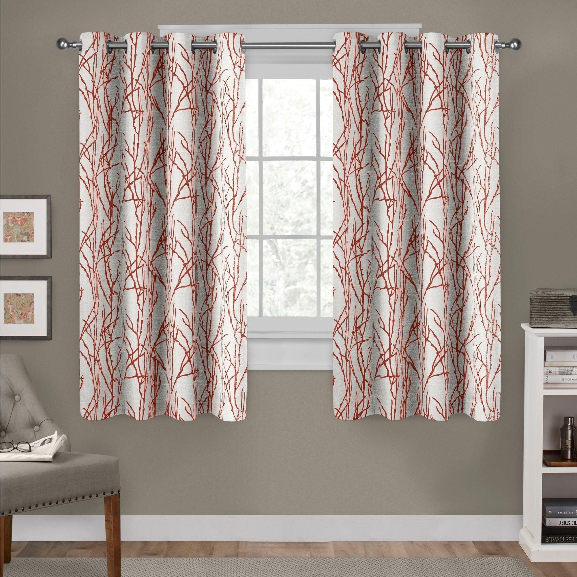 Ati Home Branches Linen Blend Grommet Top Curtain Panel Pair inside Kochi Linen Blend Window Grommet Top Curtain Panel Pairs (Image 1 of 20)