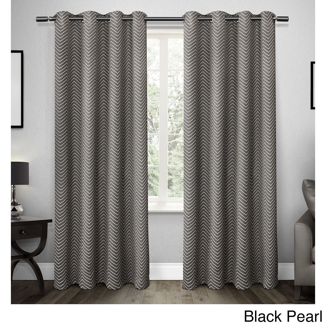 Ati Home Chevron Thermal Woven Blackout Grommet Top Curtain Regarding Twig Insulated Blackout Curtain Panel Pairs With Grommet Top (View 7 of 30)