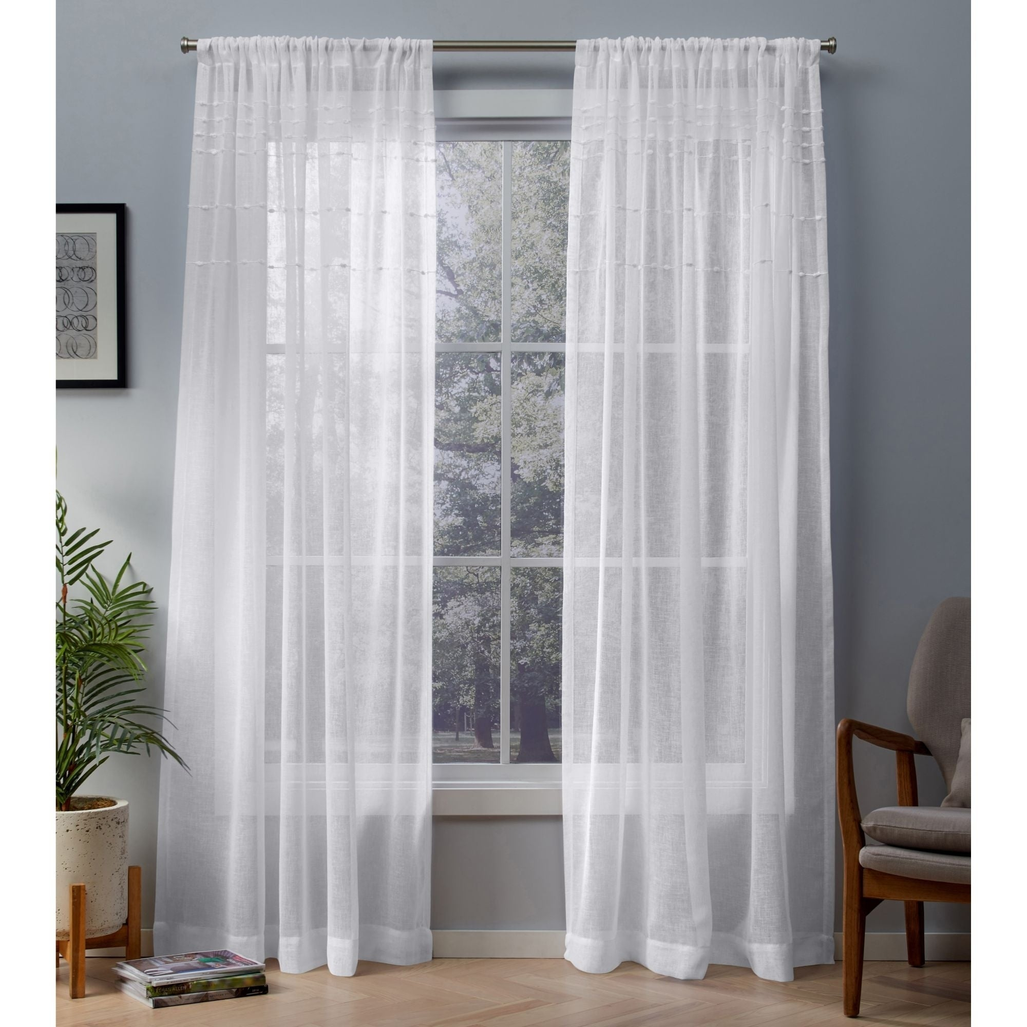 Ati Home Davos Embellished Sheer Rod Pocket Top Curtain Panel Pair Regarding Velvet Dream Silver Curtain Panel Pairs (View 18 of 31)
