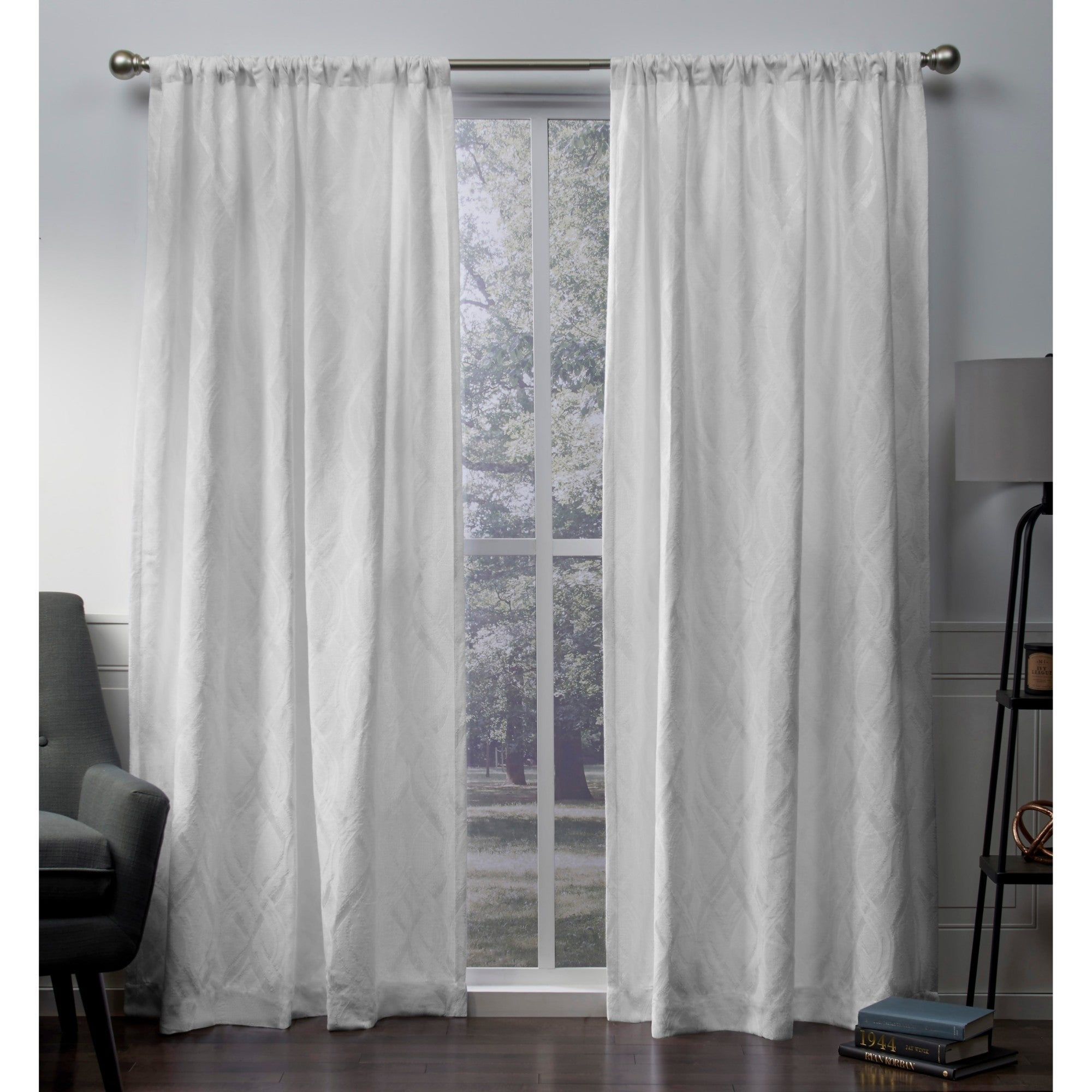 Ati Home Elena Chenille Rod Pocket Top Curtain Panel Pair With Infinity Sheer Rod Pocket Curtain Panels (View 2 of 20)
