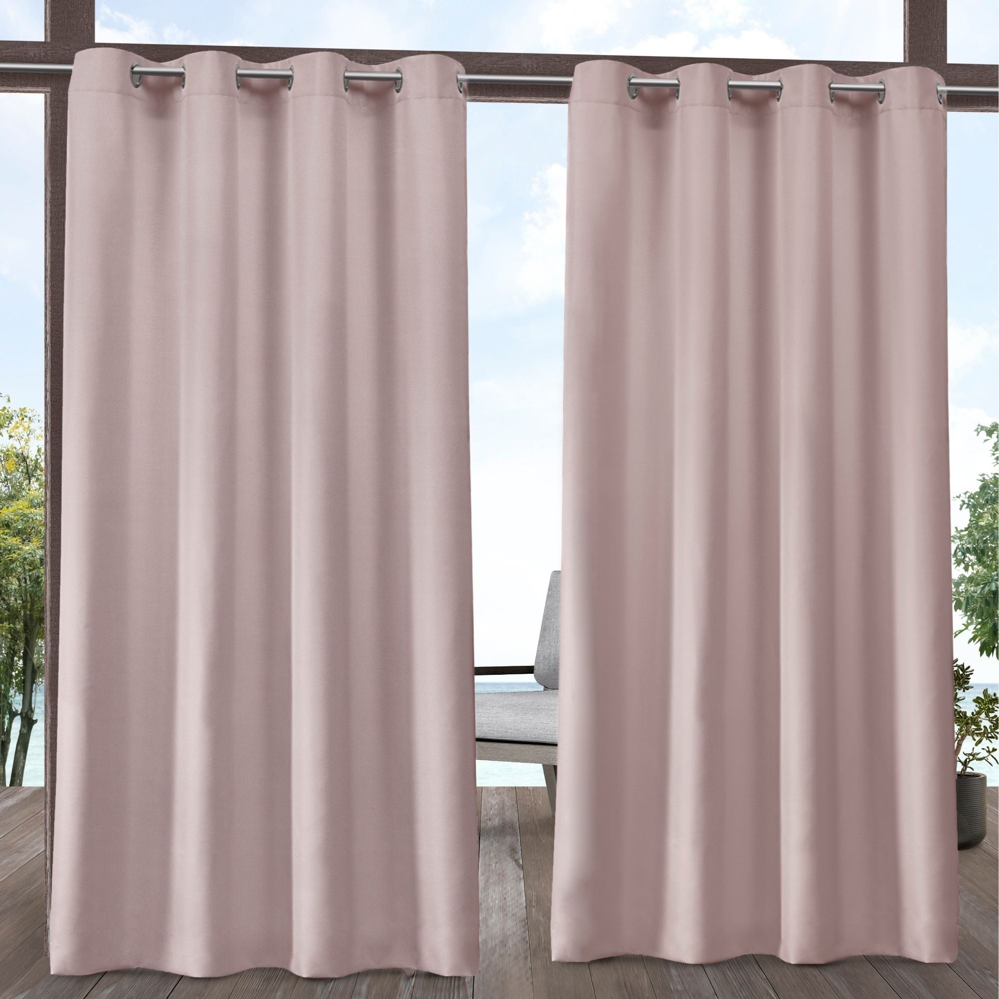 Ati Home Indoor/outdoor Solid Cabana Grommet Top Curtain Panel Pair Inside Solid Grommet Top Curtain Panel Pairs (View 16 of 30)