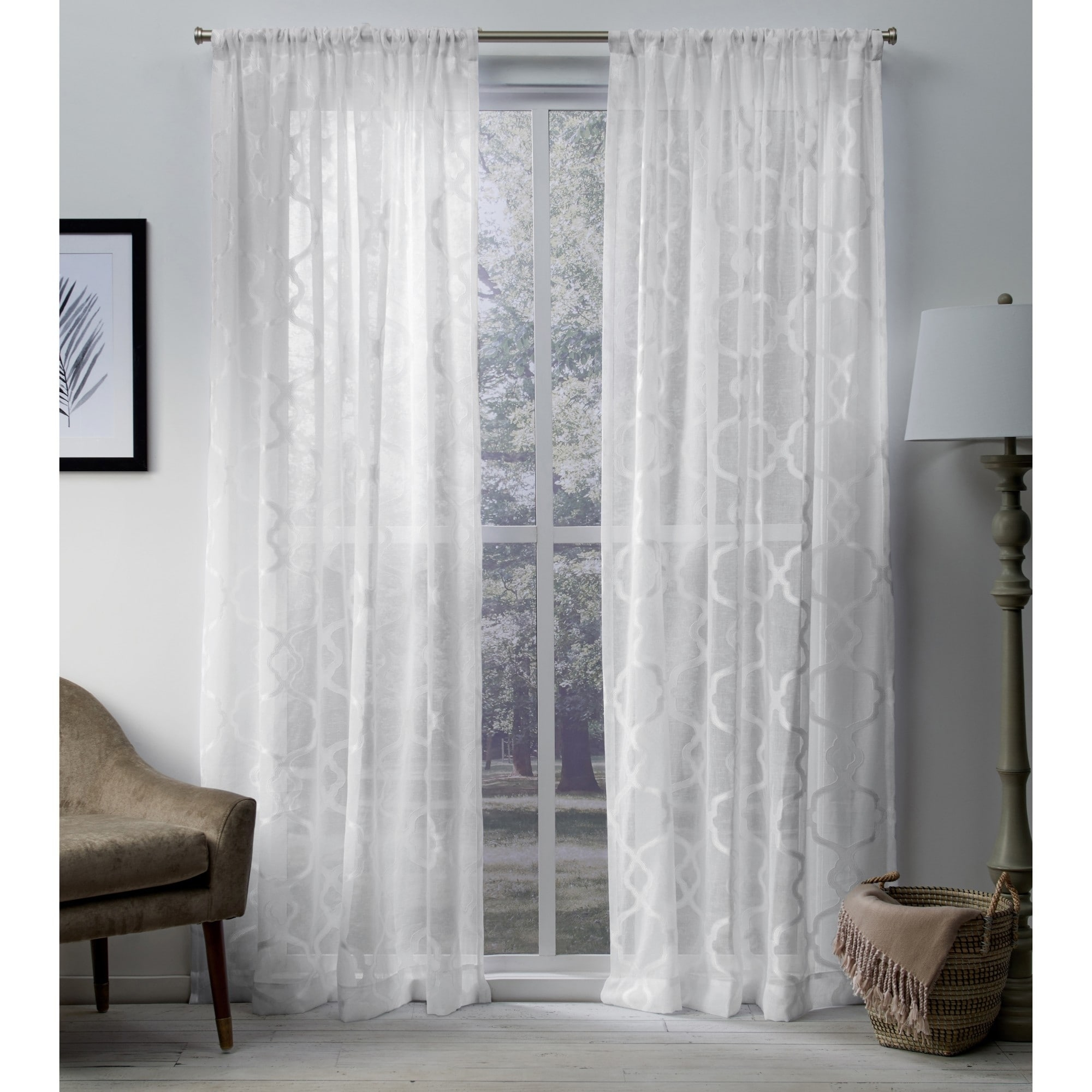 Ati Home Jacquard Sheer Rod Pocket Top Curtain Panel Pair intended for Luxury Collection Venetian Sheer Curtain Panel Pairs (Image 2 of 20)