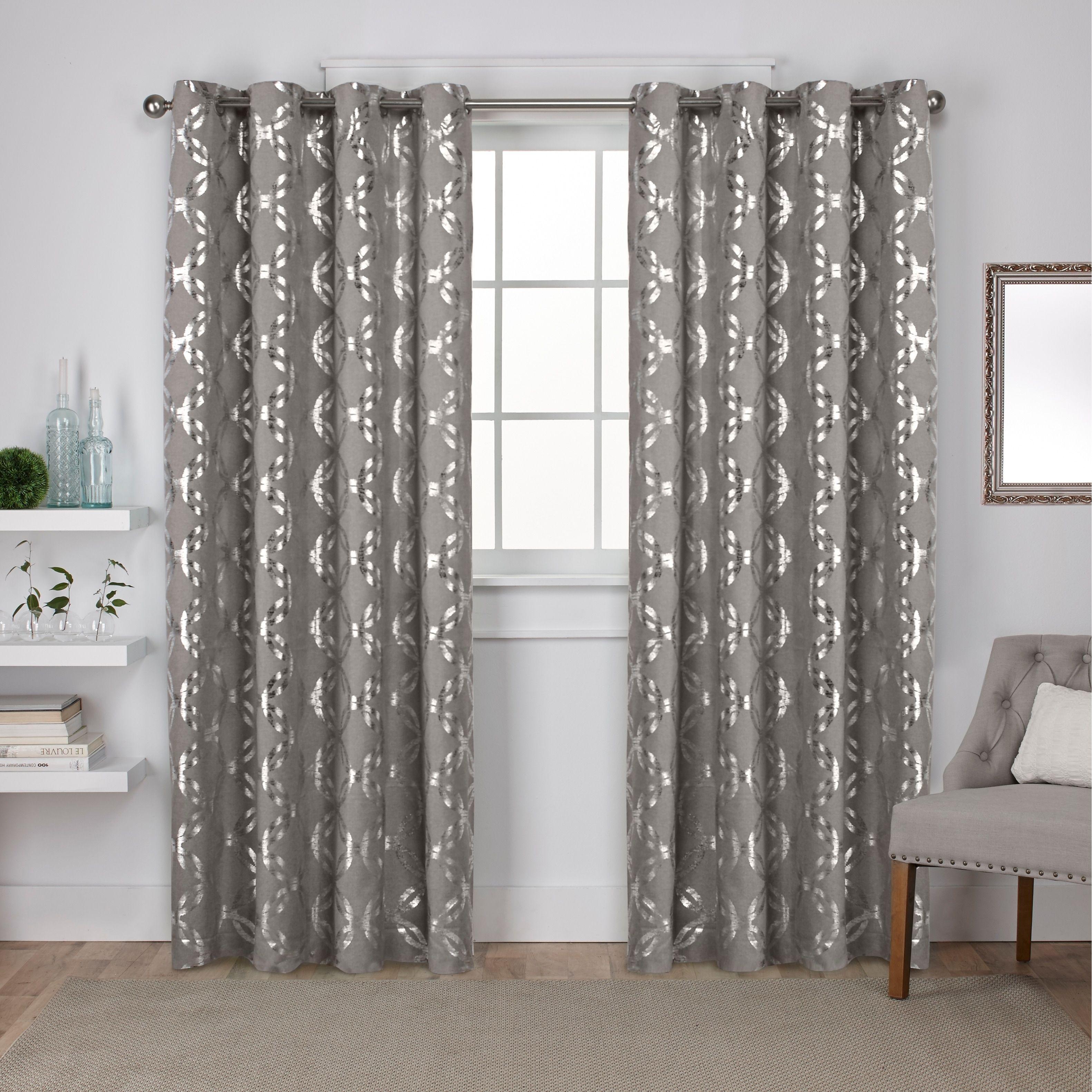 Ati Home Modo Metallic (grey) Geometric Curtain Panel Pair In Total Blackout Metallic Print Grommet Top Curtain Panels (View 11 of 36)