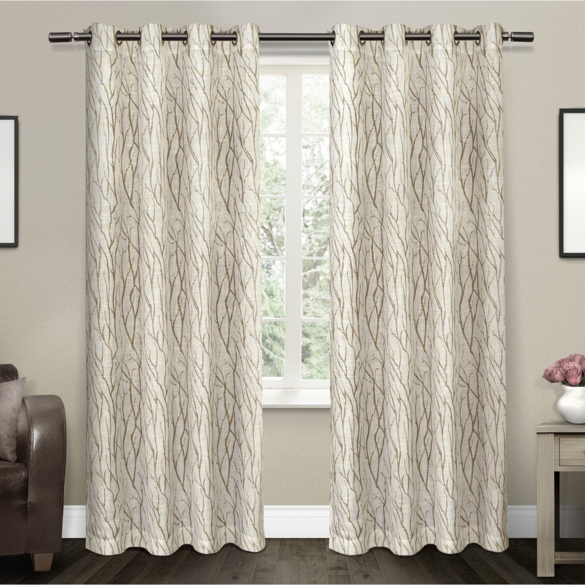Featured Photo of Oakdale Textured Linen Sheer Grommet Top Curtain Panel Pairs