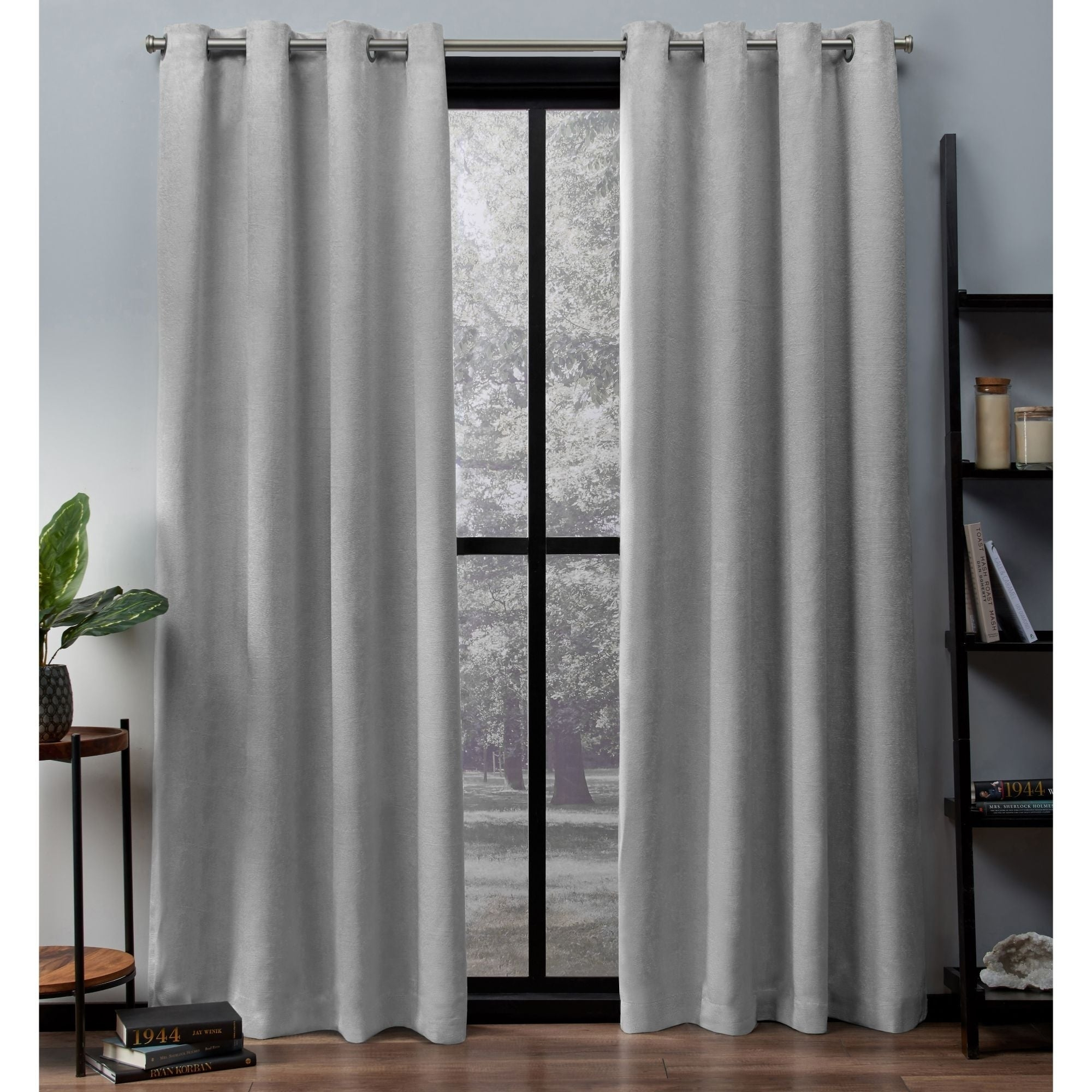 Featured Photo of Oxford Sateen Woven Blackout Grommet Top Curtain Panel Pairs