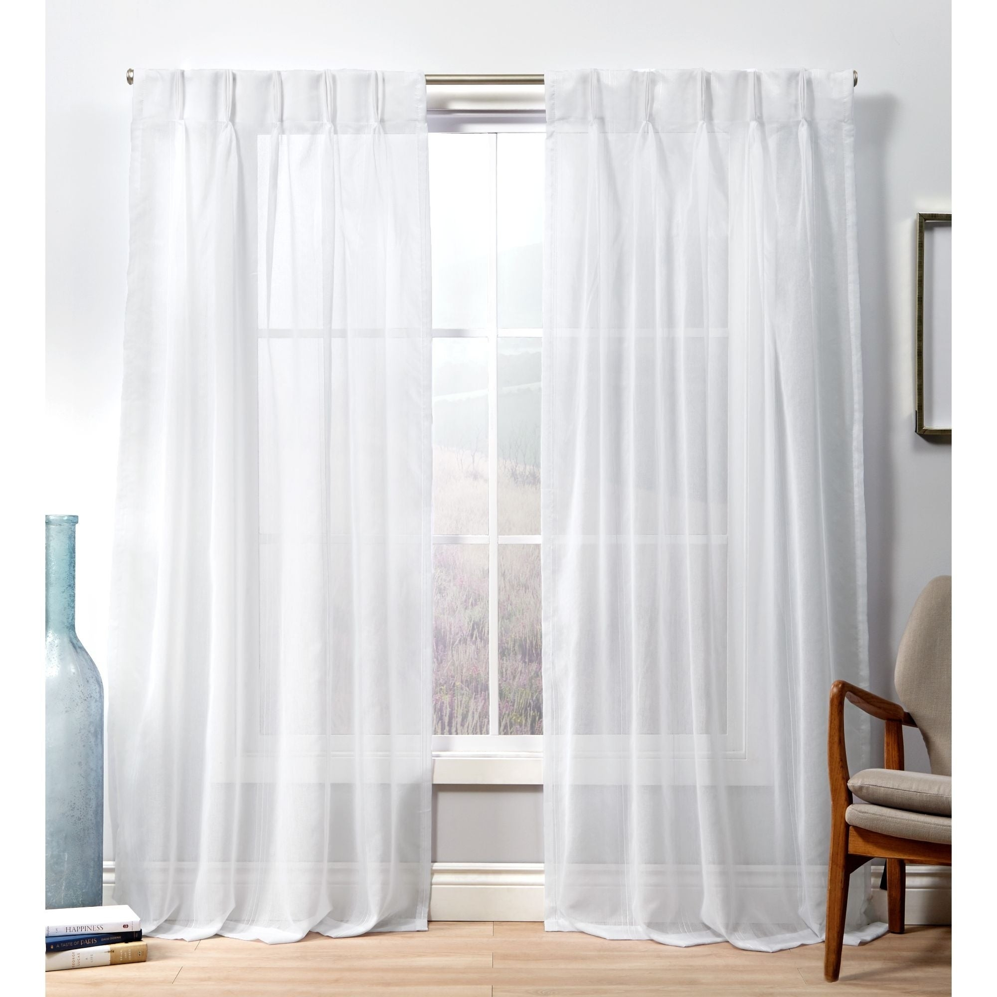 Ati Home Penny Sheer Pinch Pleat Curtain Panel Pair Intended For Double Pinch Pleat Top Curtain Panel Pairs (View 5 of 20)