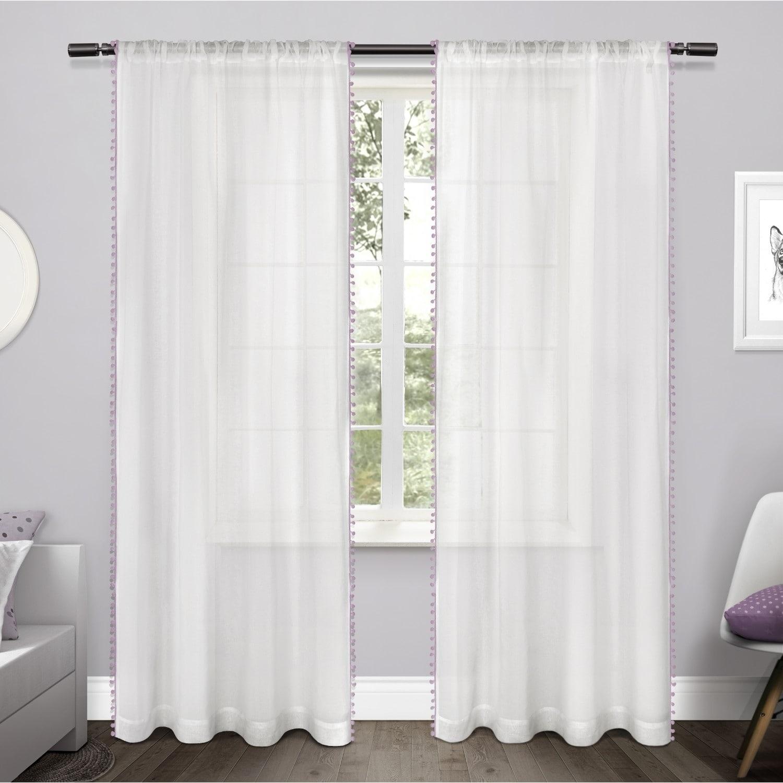 Ati Home Pom Pom Applique Sheer Rod Pocket Top Curtain Panel For Tassels Applique Sheer Rod Pocket Top Curtain Panel Pairs (View 7 of 30)