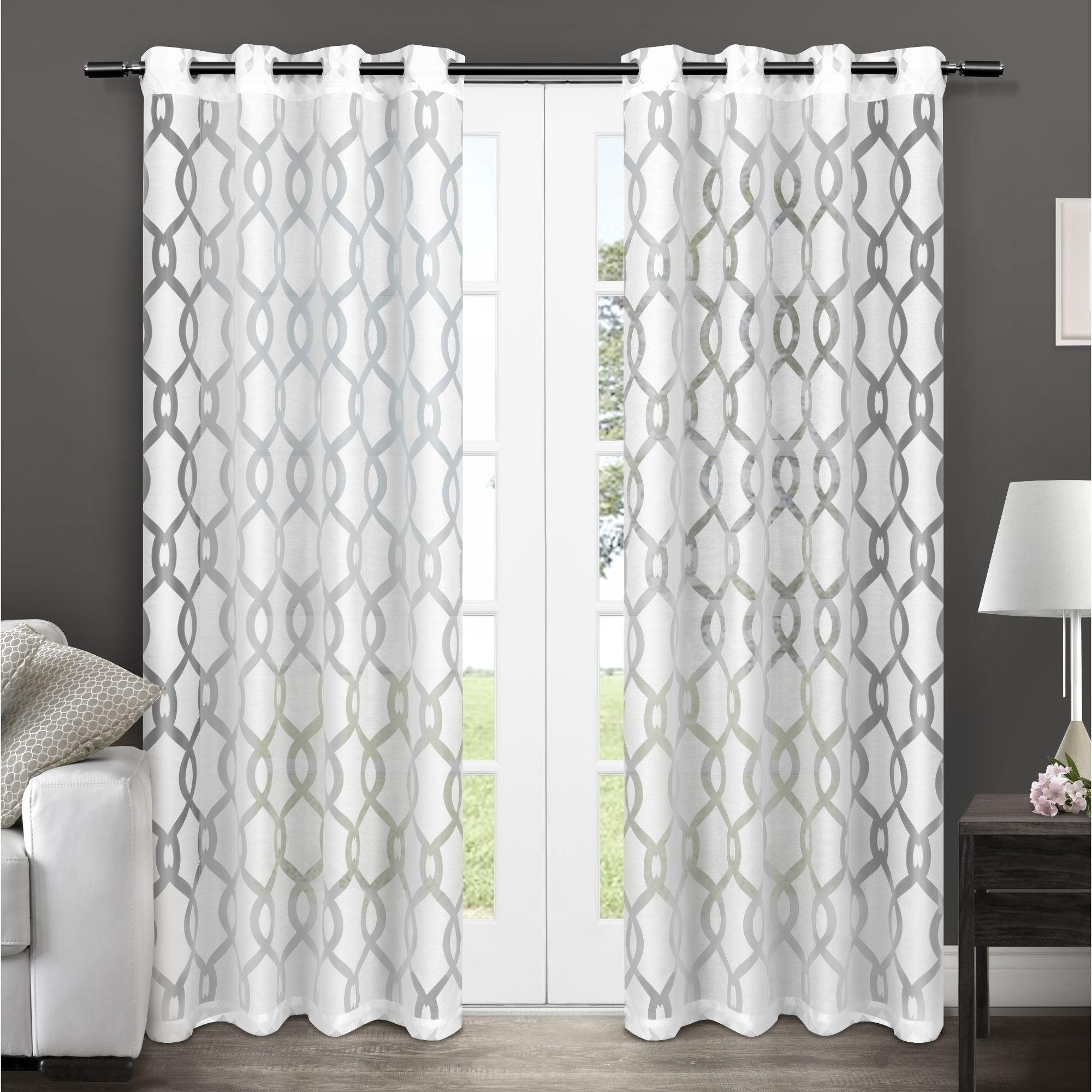 Ati Home Rio Burnout Sheer Grommet Top Curtain Panel Pair Regarding Laya Fretwork Burnout Sheer Curtain Panels (View 18 of 20)