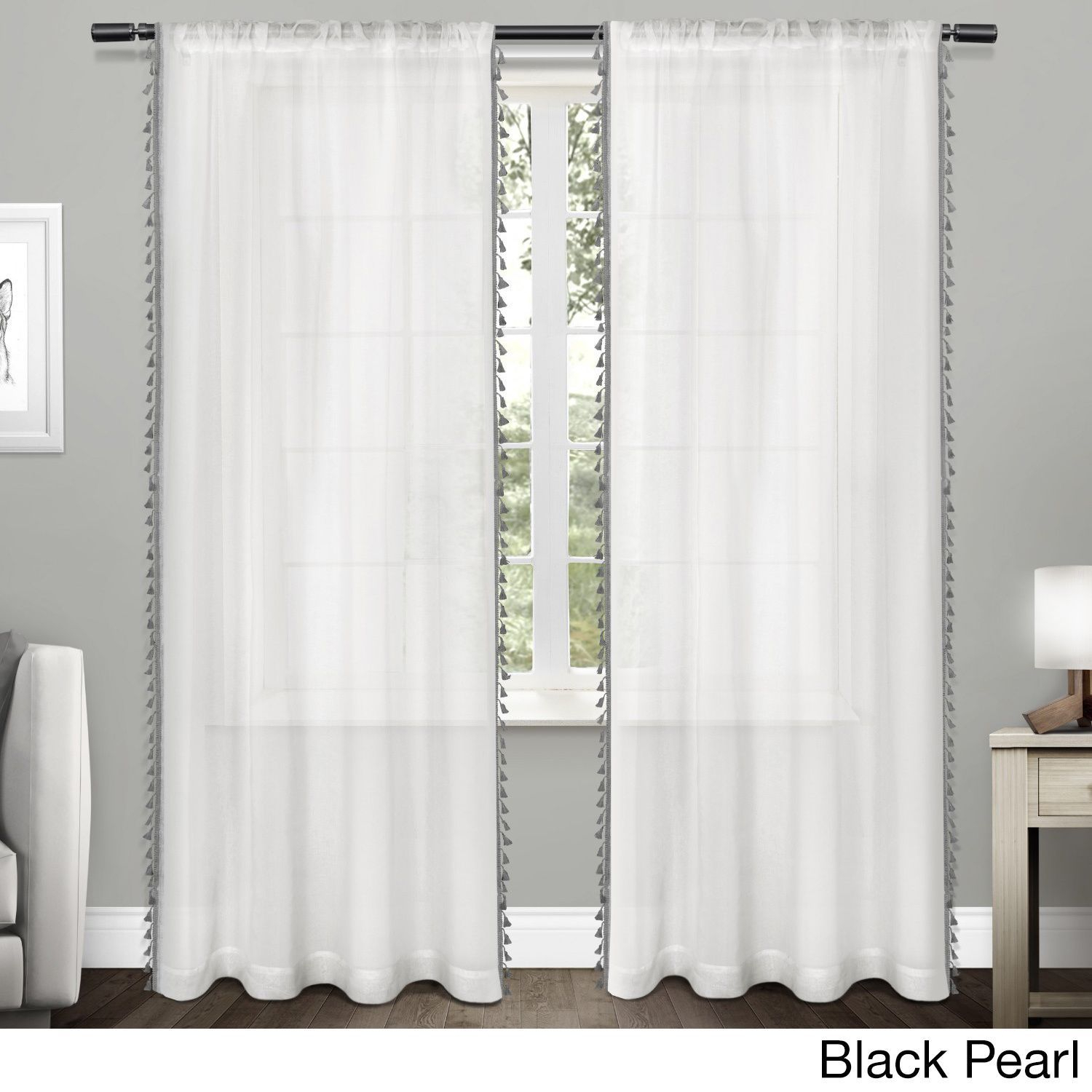 Ati Home Rod Pocket Curtain Panel Pair With Tassels (Tassels For Tassels Applique Sheer Rod Pocket Top Curtain Panel Pairs (View 4 of 30)