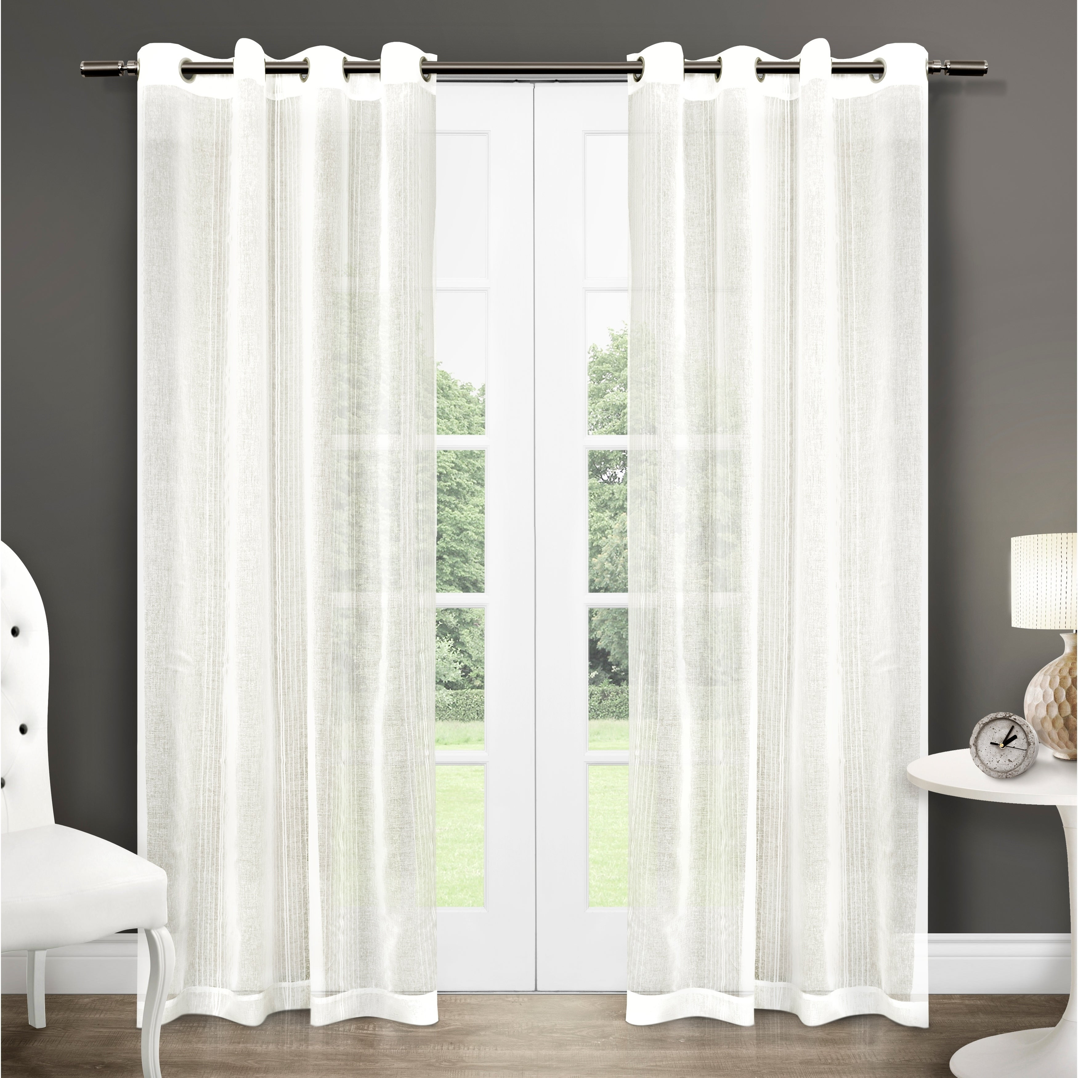 Ati Home Sabrina Sheer Window Curtain Panel Pair With Grommet Top for Luxury Collection Venetian Sheer Curtain Panel Pairs (Image 3 of 20)