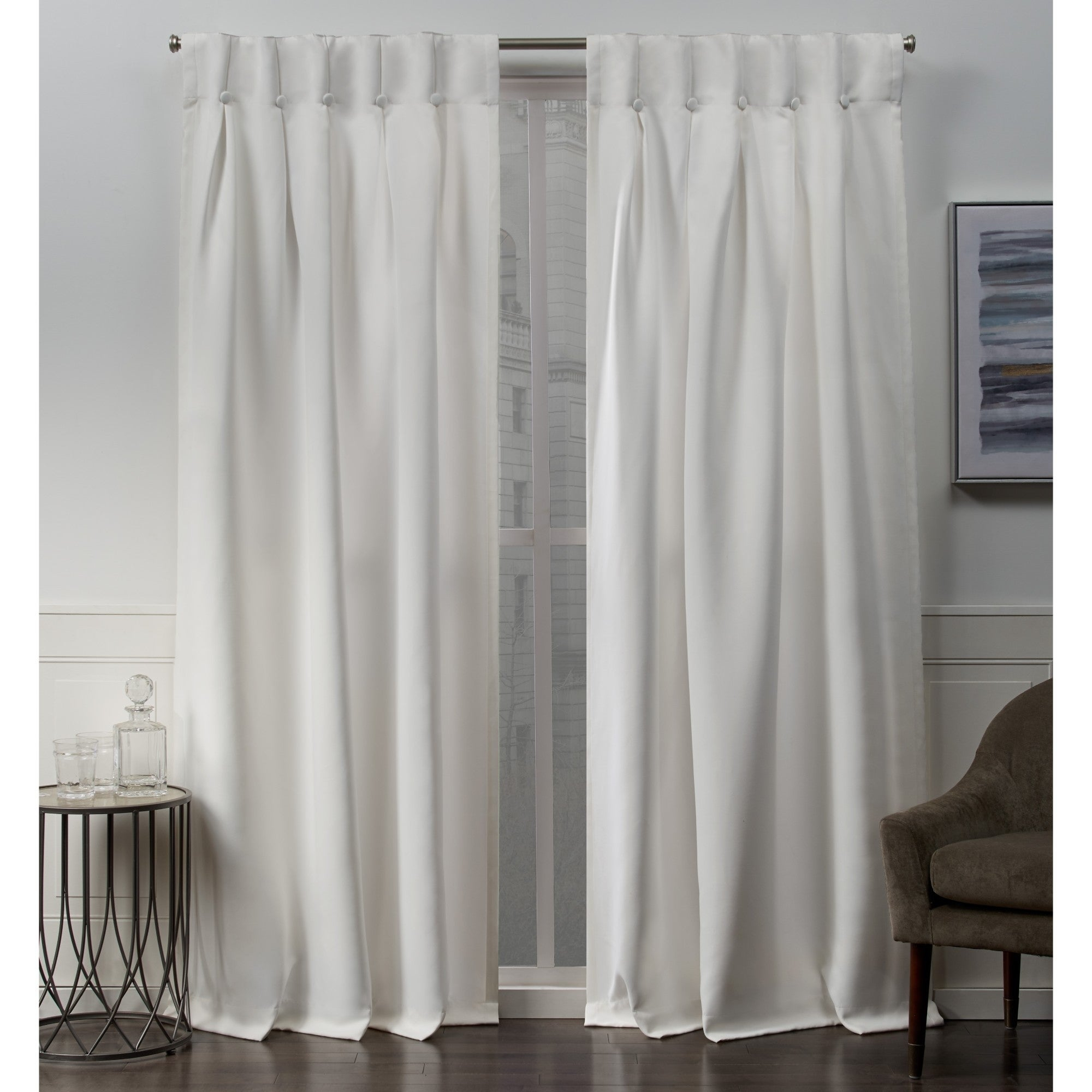 Ati Home Sateen Woven Blackout Button Top Window Curtain Panel Pair Pertaining To Sateen Woven Blackout Curtain Panel Pairs With Pinch Pleat Top (View 6 of 20)