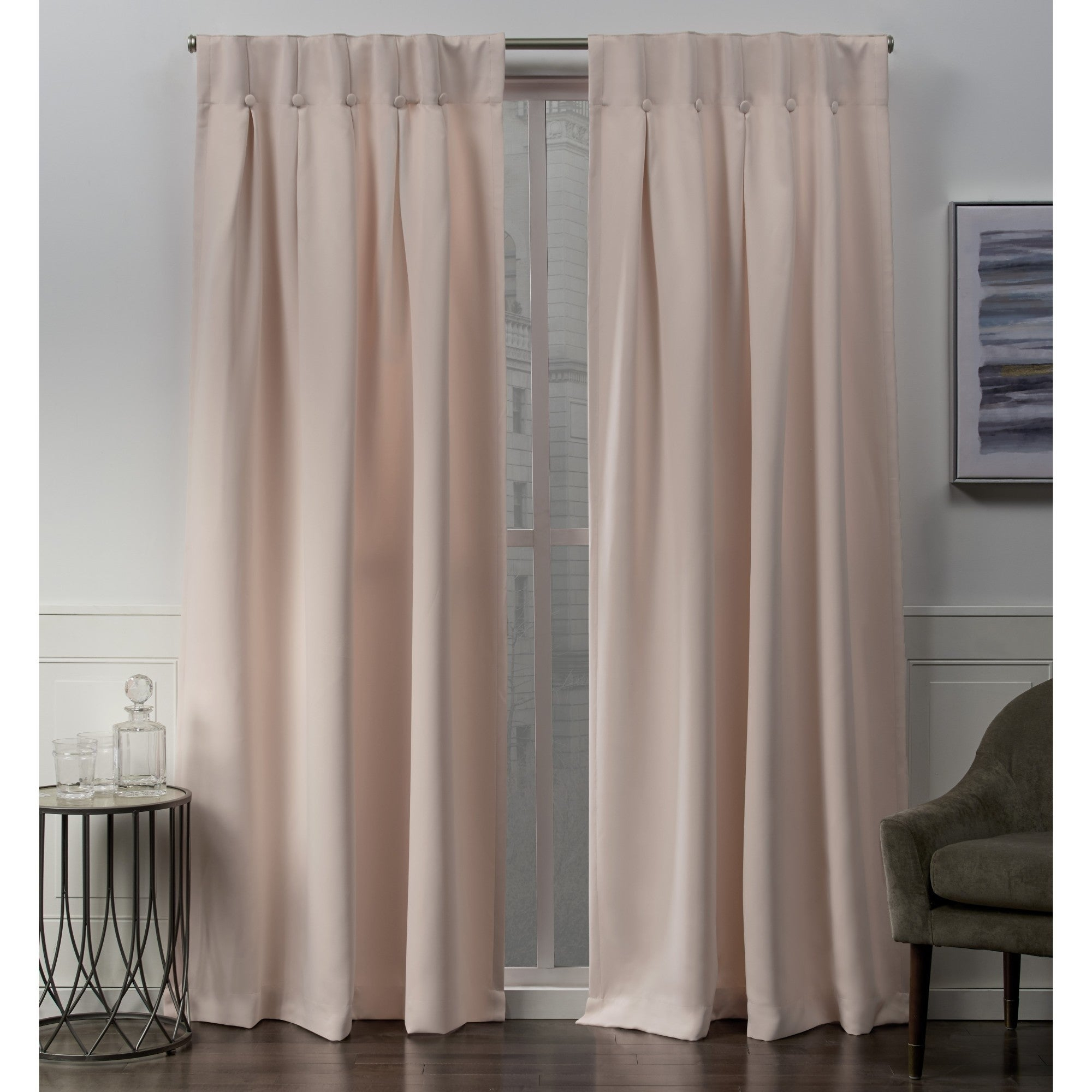 Ati Home Sateen Woven Blackout Button Top Window Curtain Panel Pair Pertaining To Sateen Woven Blackout Curtain Panel Pairs With Pinch Pleat Top (View 5 of 20)