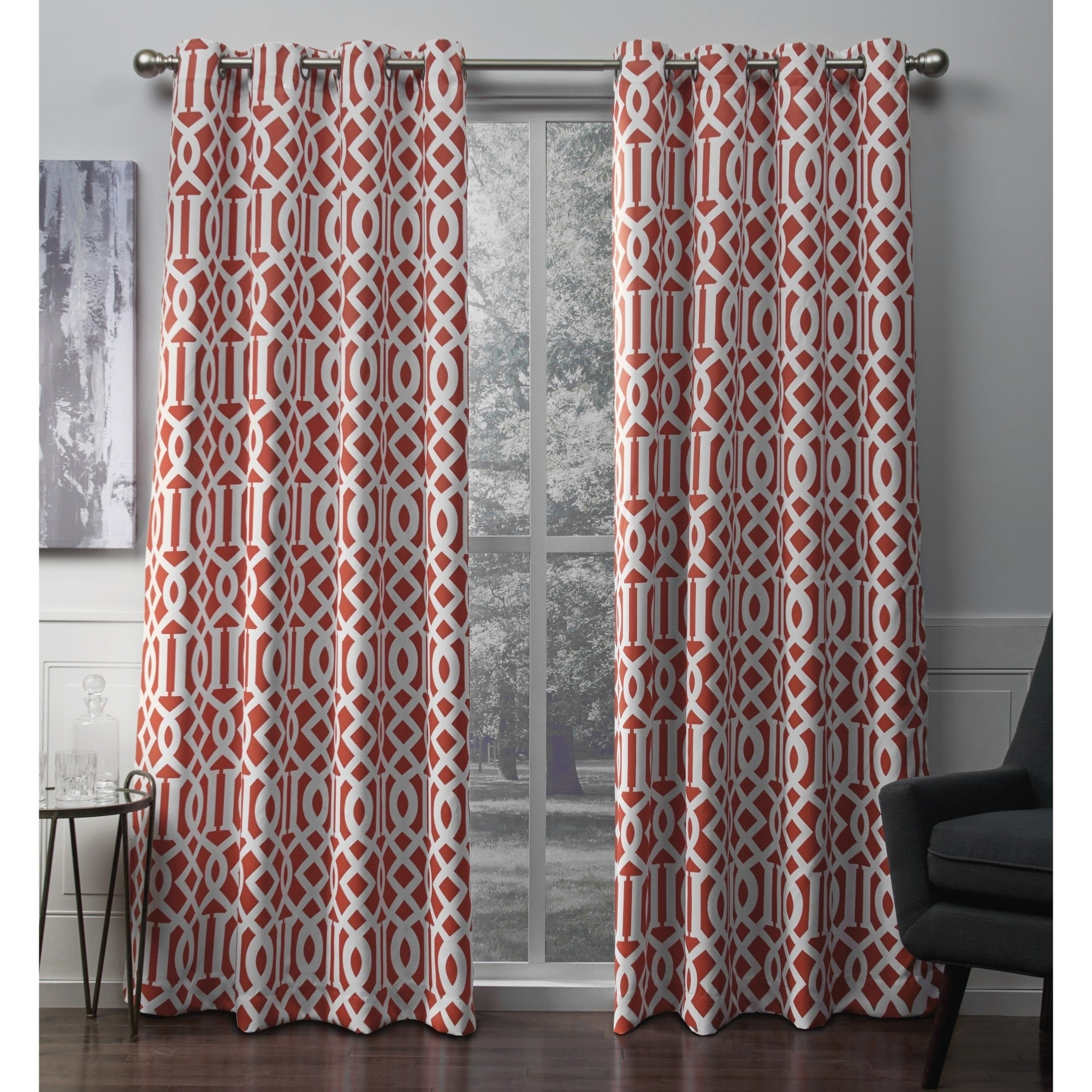 Ati Home Scrollwork Sateen Blackout Grommet Top Curtain Panel Pair Intended For Sateen Twill Weave Insulated Blackout Window Curtain Panel Pairs (View 3 of 20)