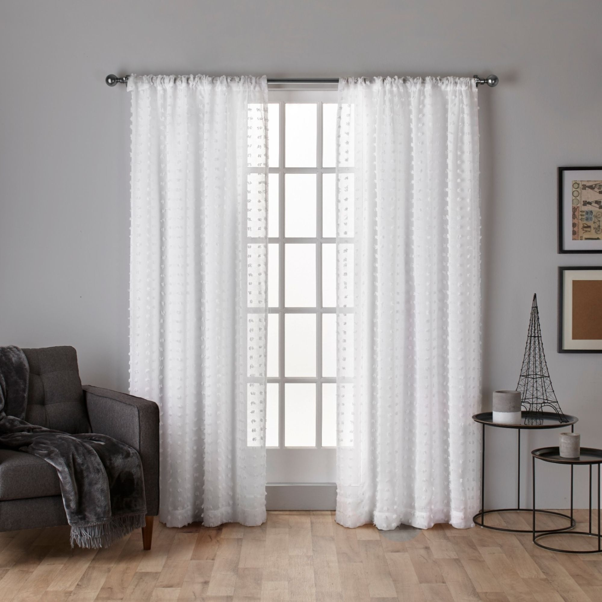 Ati Home Spirit Applique Sheer Rod Pocket Top Curtain Panel Pair With Tassels Applique Sheer Rod Pocket Top Curtain Panel Pairs (View 9 of 30)