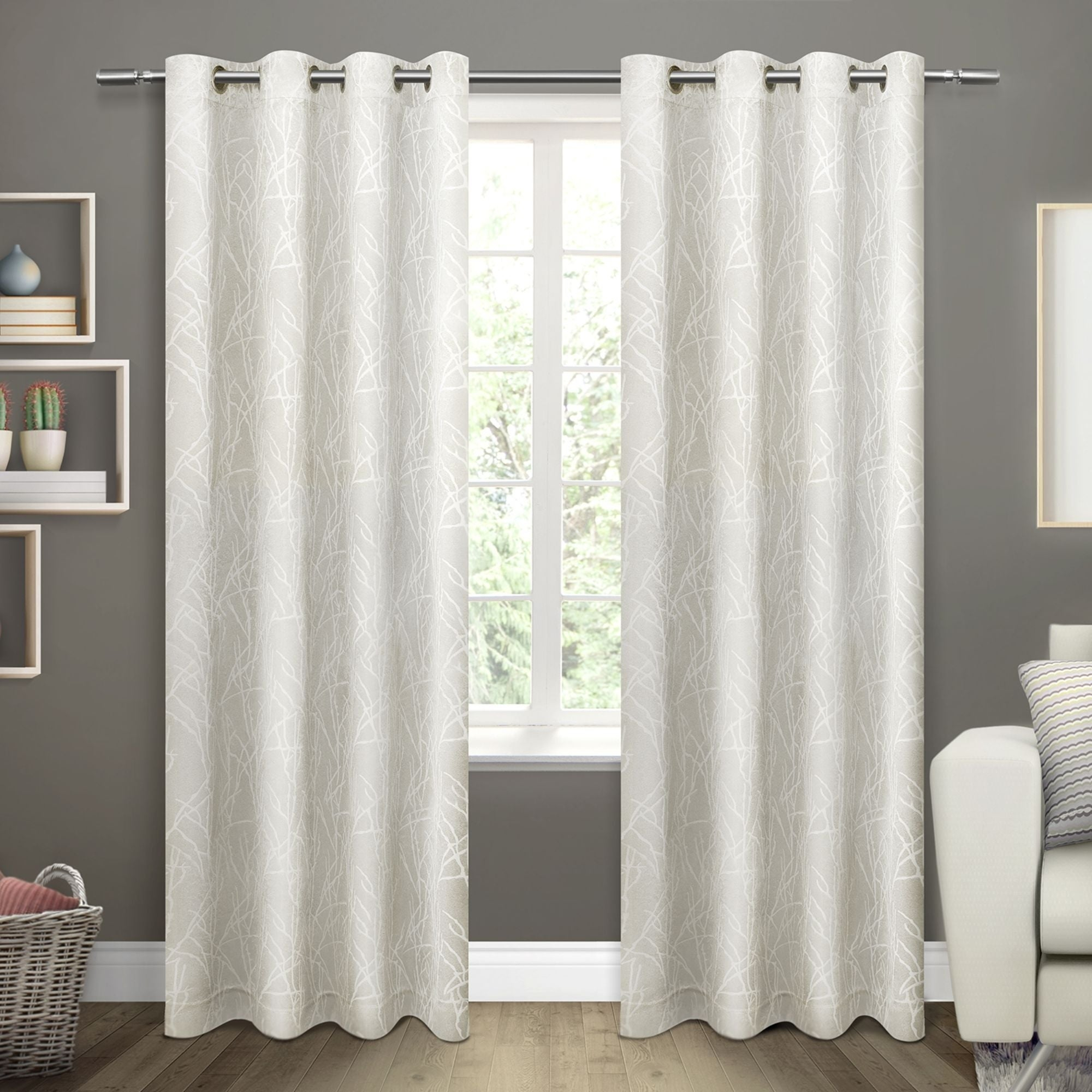 Ati Home Twig Insulated Blackout Curtain Panel Pair With Grommet Top For Insulated Grommet Blackout Curtain Panel Pairs (View 1 of 20)