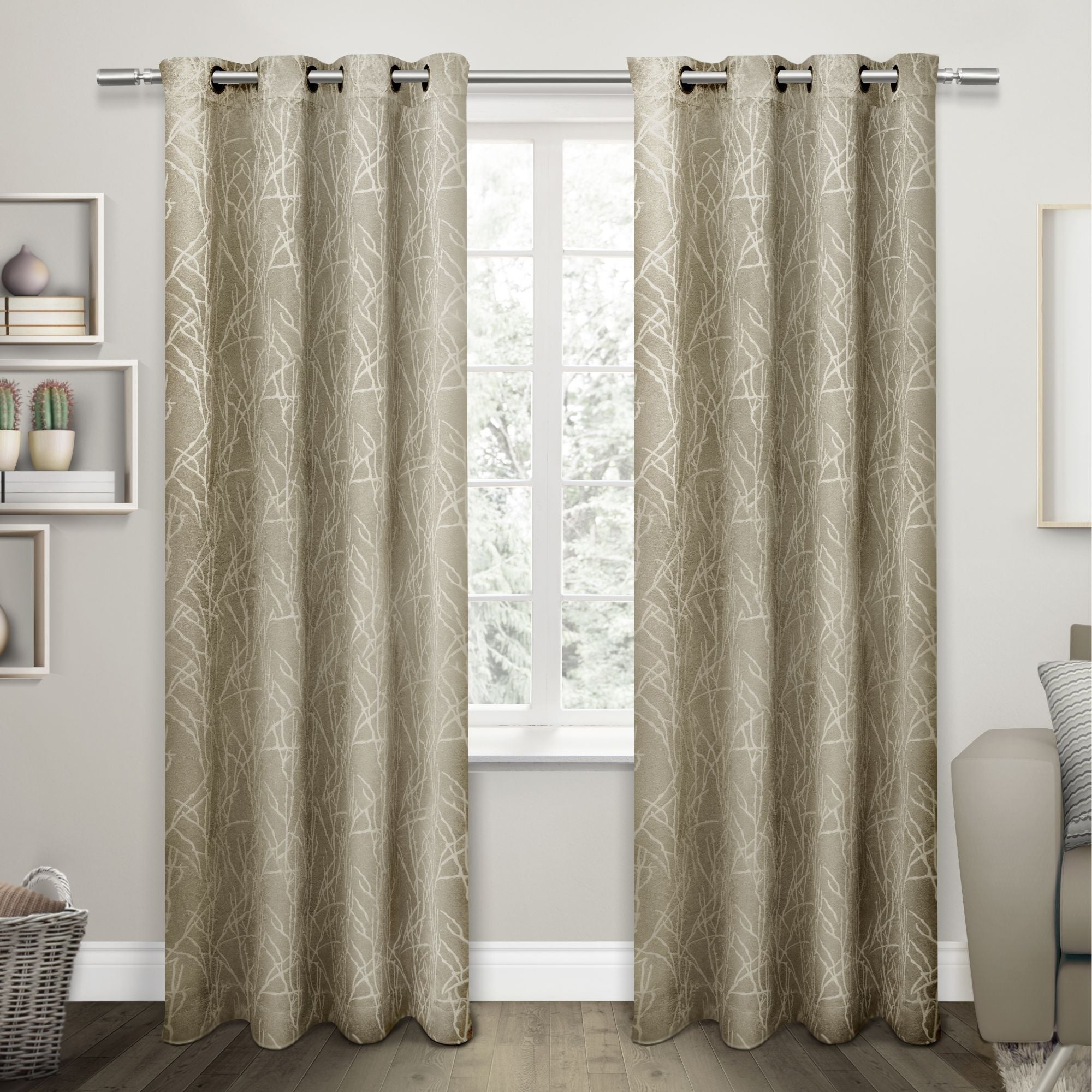 Featured Photo of Twig Insulated Blackout Curtain Panel Pairs With Grommet Top