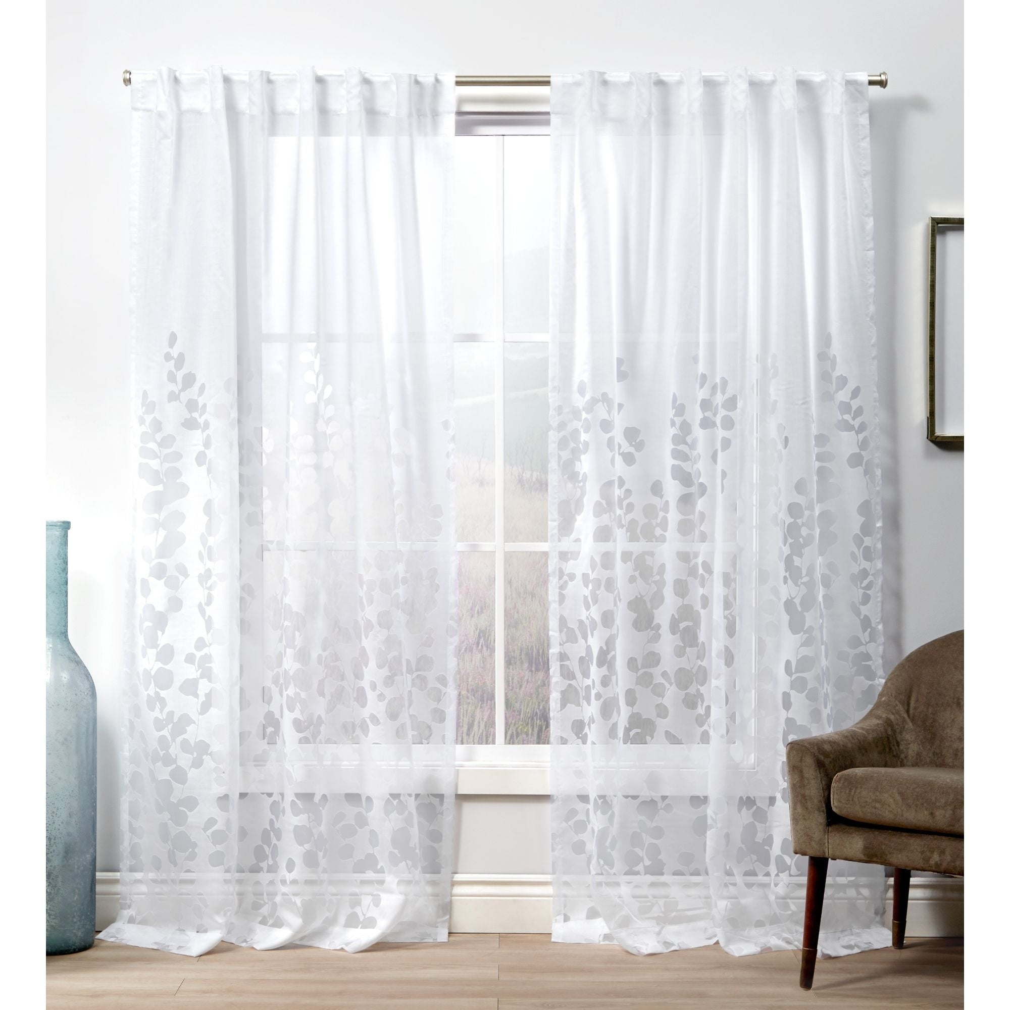 Ati Home Wilshire Burnout Sheer Hidden Tab Top Sheer Panel Pair With Wilshire Burnout Grommet Top Curtain Panel Pairs (View 9 of 30)