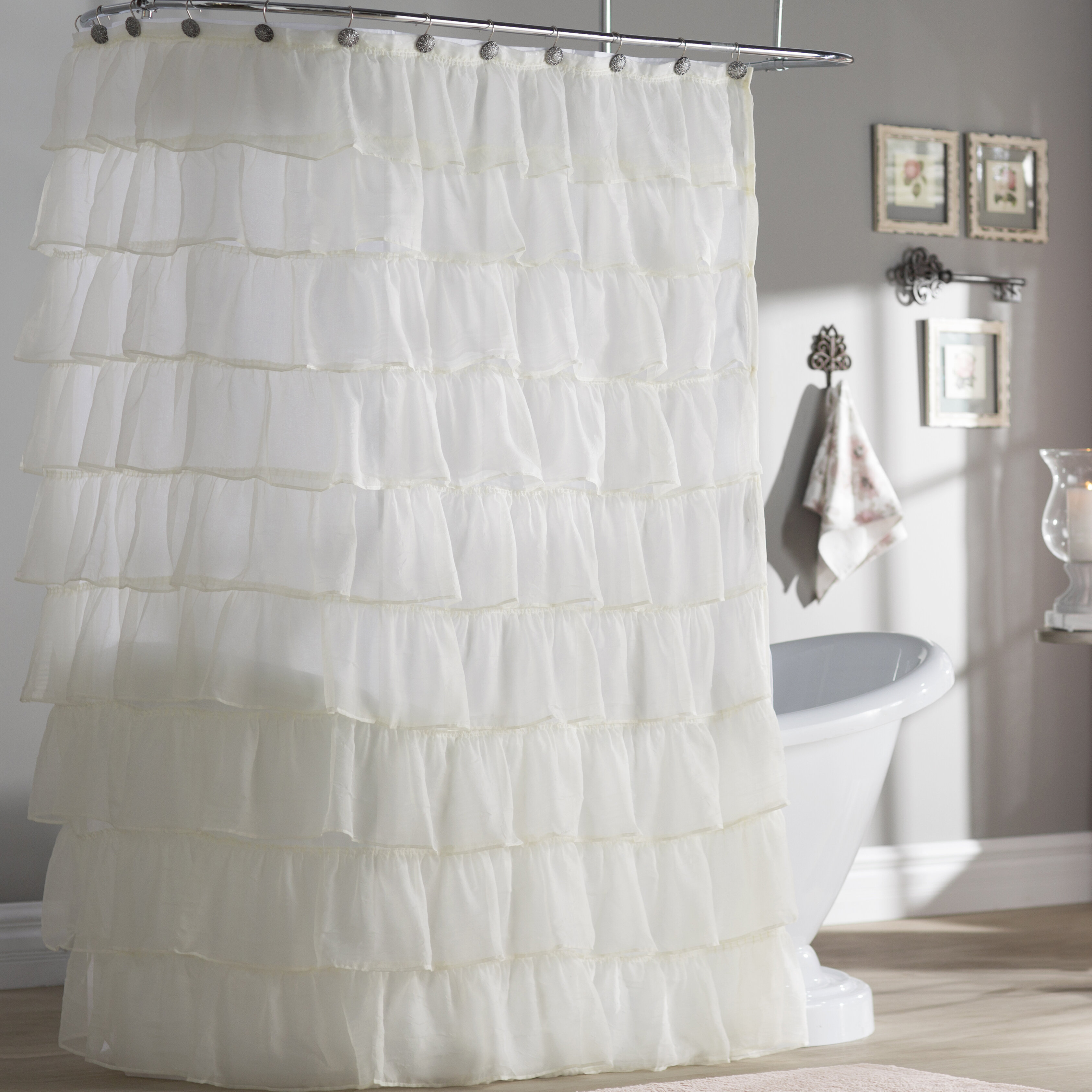 Atia Voile Ruffled Tier Single Shower Curtain Within Sheer Voile Waterfall Ruffled Tier Single Curtain Panels (View 15 of 20)