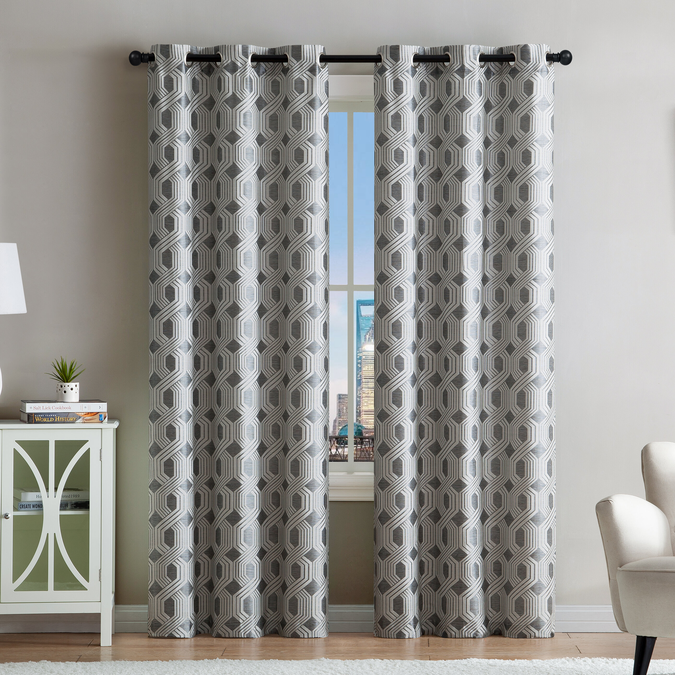 Audric Geometric Light Filtering Grommet Curtain Panels Pertaining To Silvertone Grommet Thermal Insulated Blackout Curtain Panel Pairs (View 2 of 30)