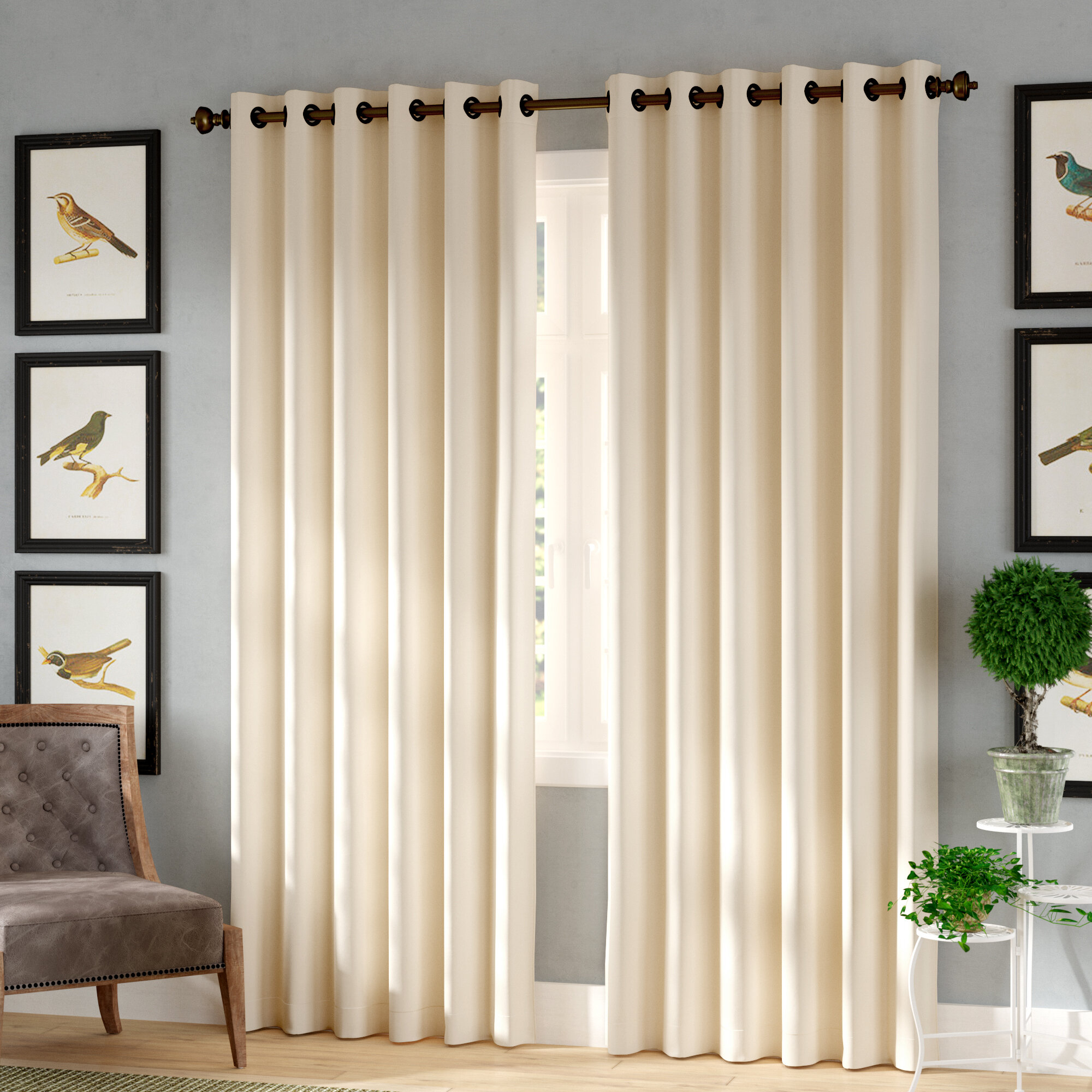 August Grove Tarakan Solid Blackout Thermal Grommet Single Throughout Tuscan Thermal Backed Blackout Curtain Panel Pairs (View 13 of 30)
