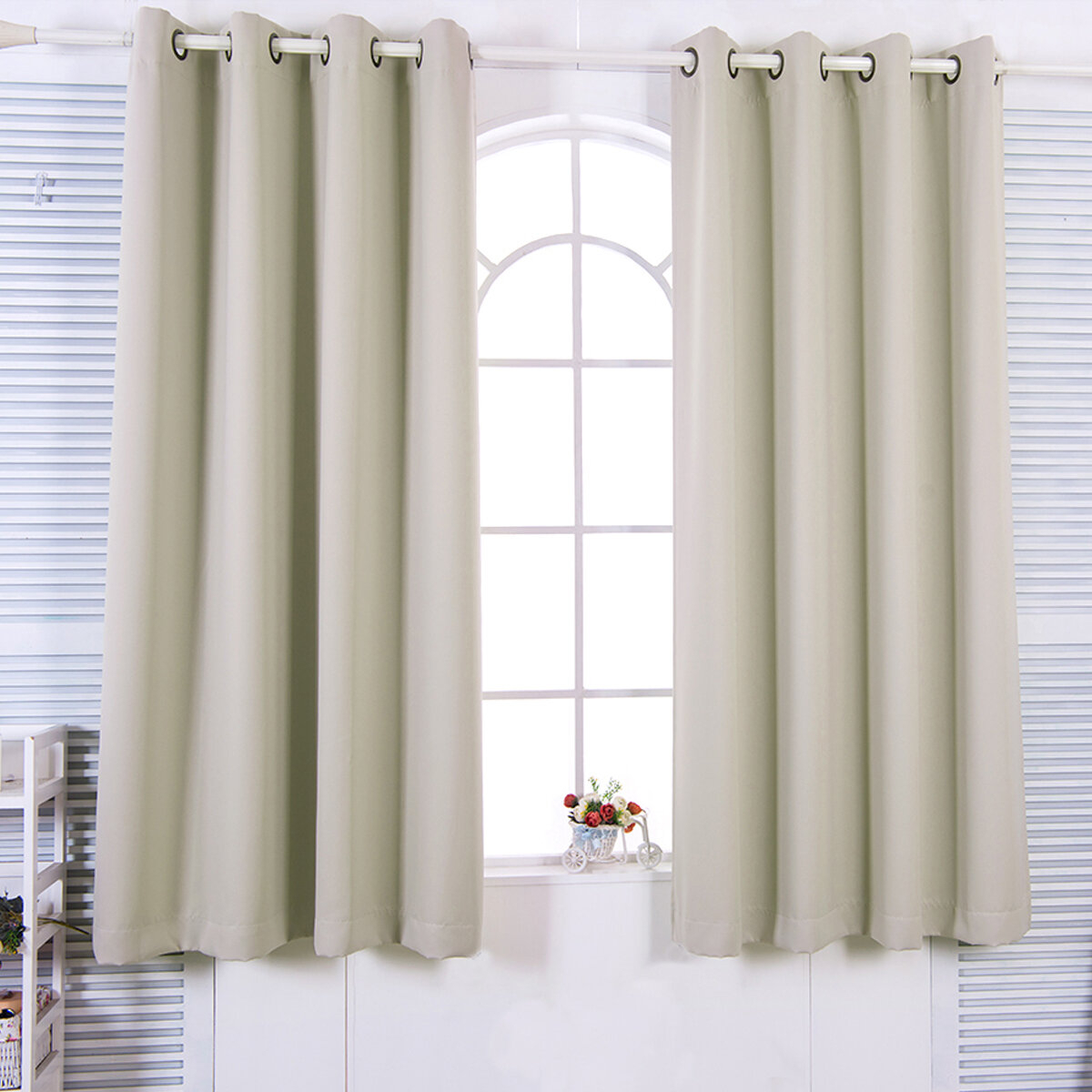August Grove Victor Solid Blackout Thermal Grommet Curtain In Antique Silver Grommet Top Thermal Insulated Blackout Curtain Panel Pairs (View 12 of 20)