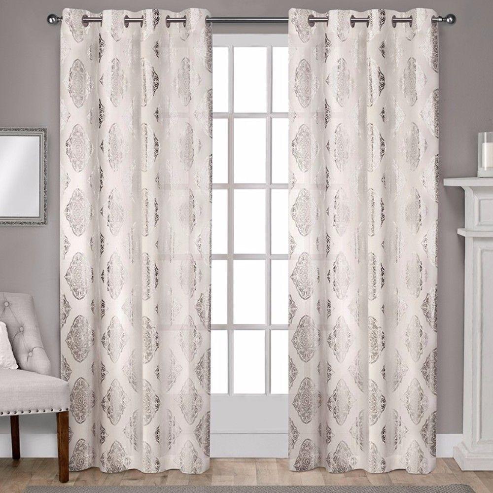 Augustus Metallic Light Filtering Grommet Top Window Curtain Throughout Total Blackout Metallic Print Grommet Top Curtain Panels (View 23 of 36)