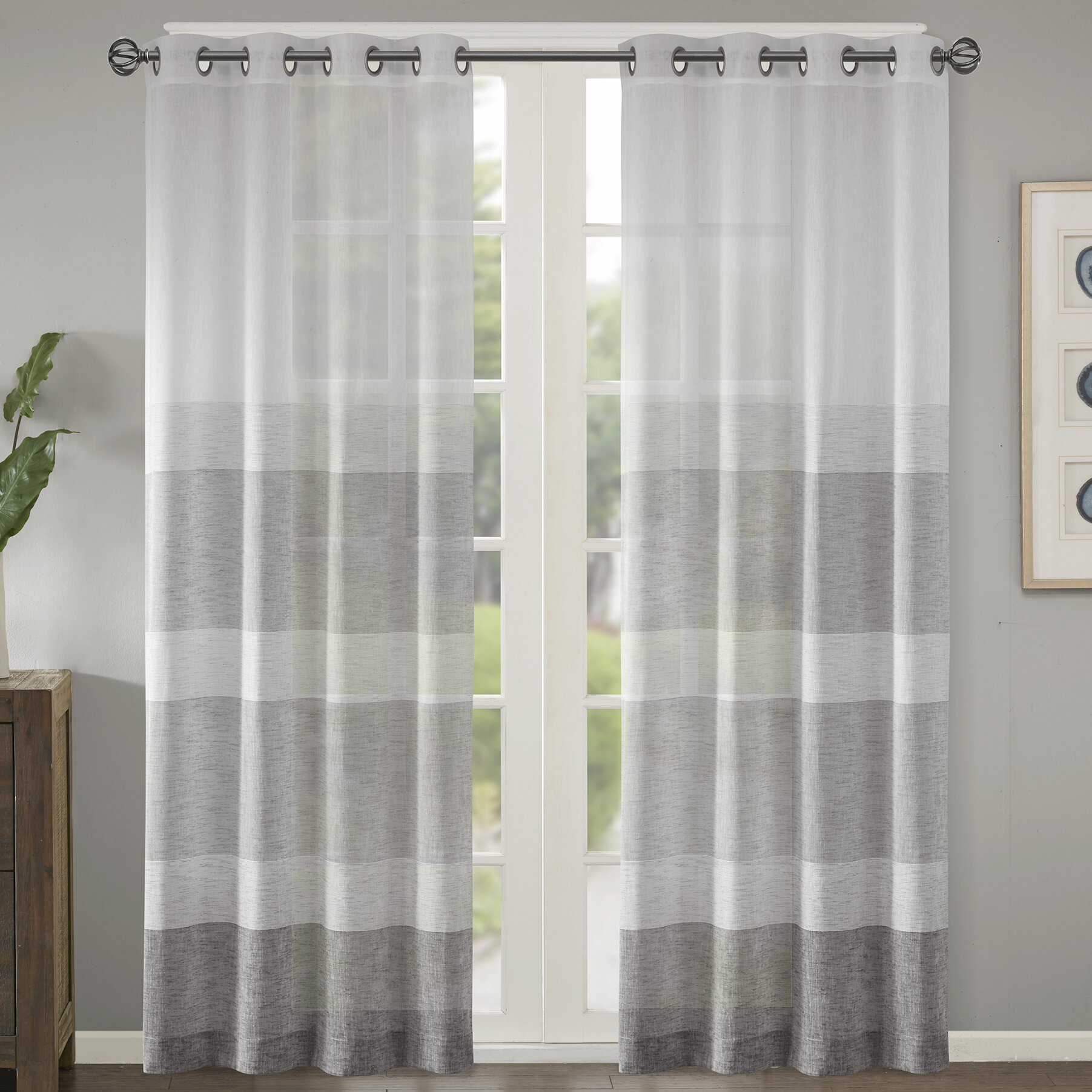 Augustus Striped Grommet Single Curtain Panel With Regard To Ocean Striped Window Curtain Panel Pairs With Grommet Top (View 18 of 20)