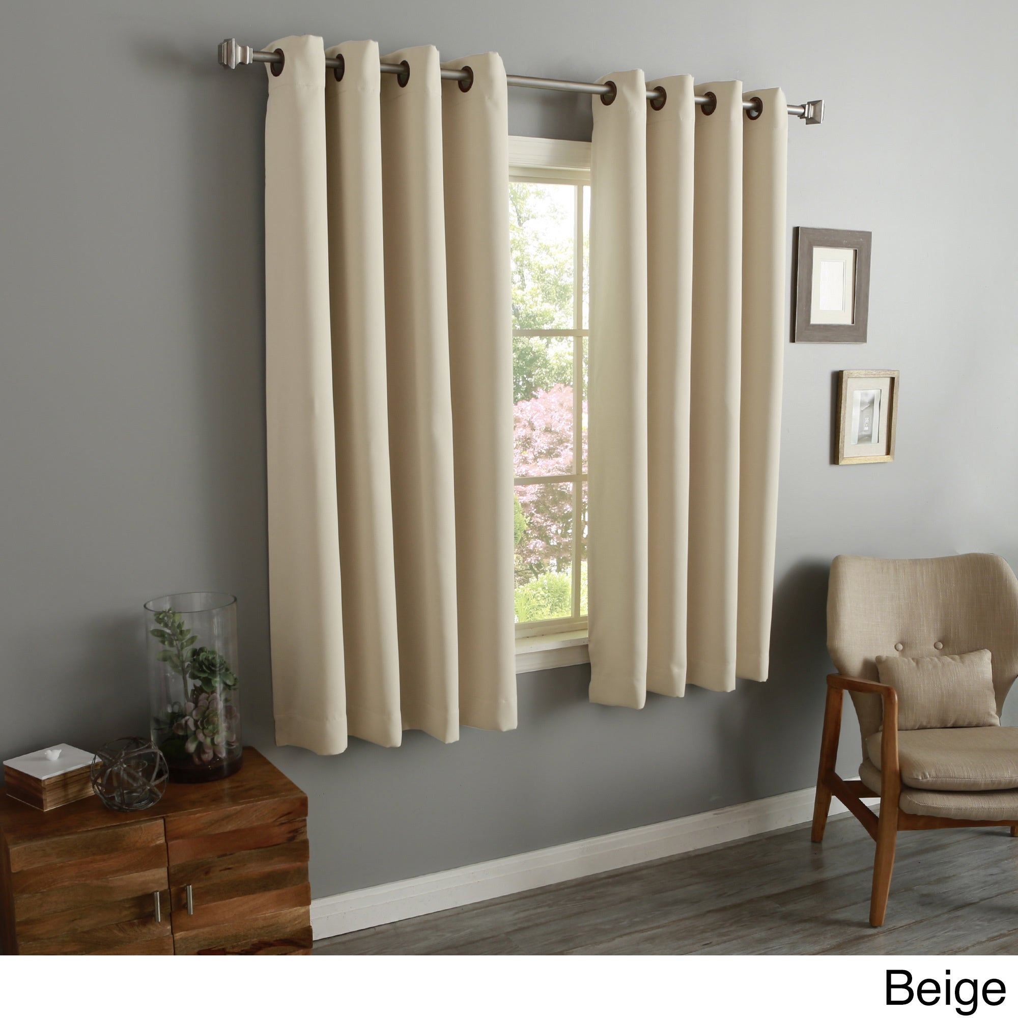 """Aurora Home 54 Inch Thermal Insulated Blackout Grommet Top Curtain Panel Pair – 52""""w X 54""""l Each Pertaining To Grommet Top Thermal Insulated Blackout Curtain Panel Pairs (View 7 of 20)"""