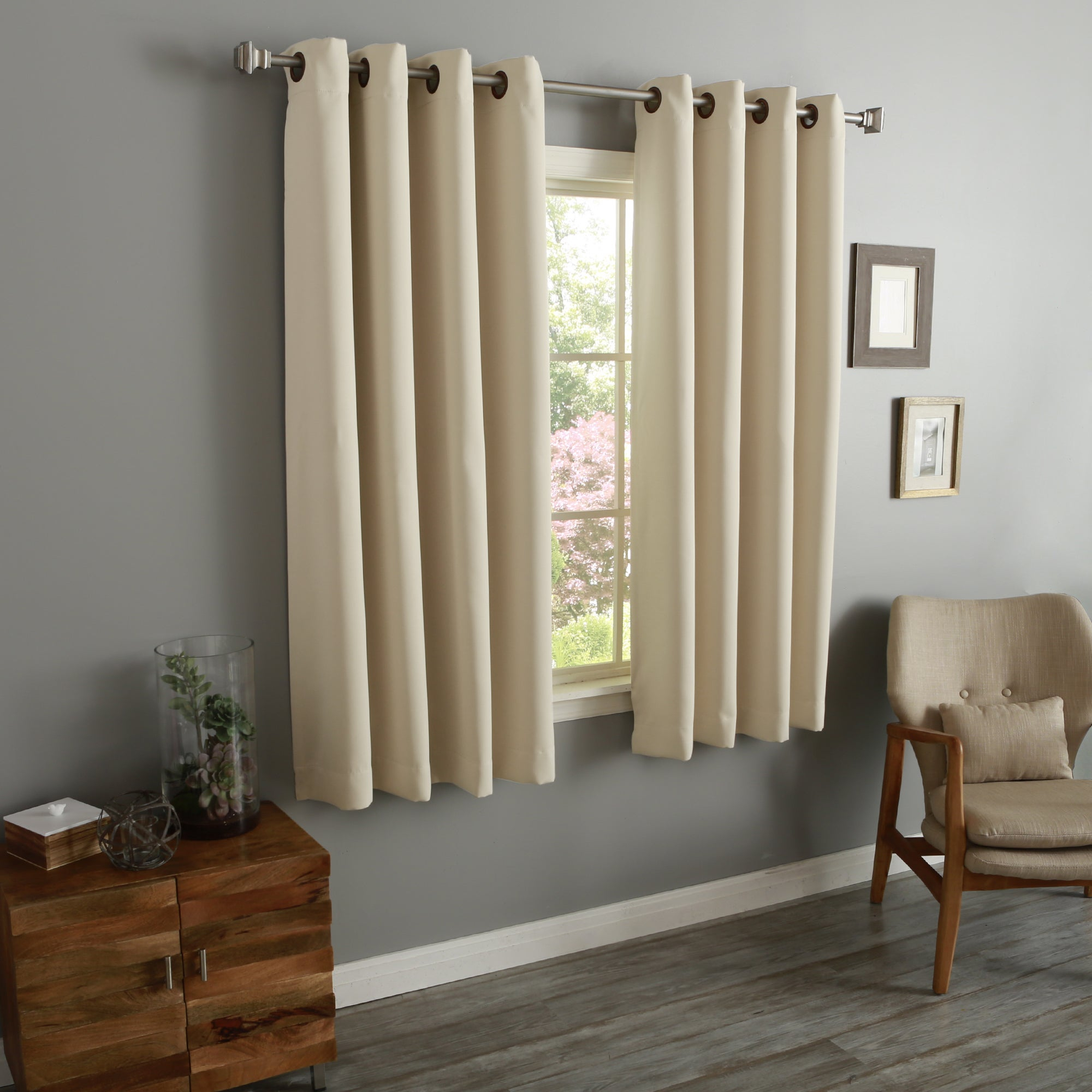 """Aurora Home 54 Inch Thermal Insulated Blackout Grommet Top Curtain Panel Pair – 52""""w X 54""""l Each With Solid Insulated Thermal Blackout Curtain Panel Pairs (View 7 of 30)"""