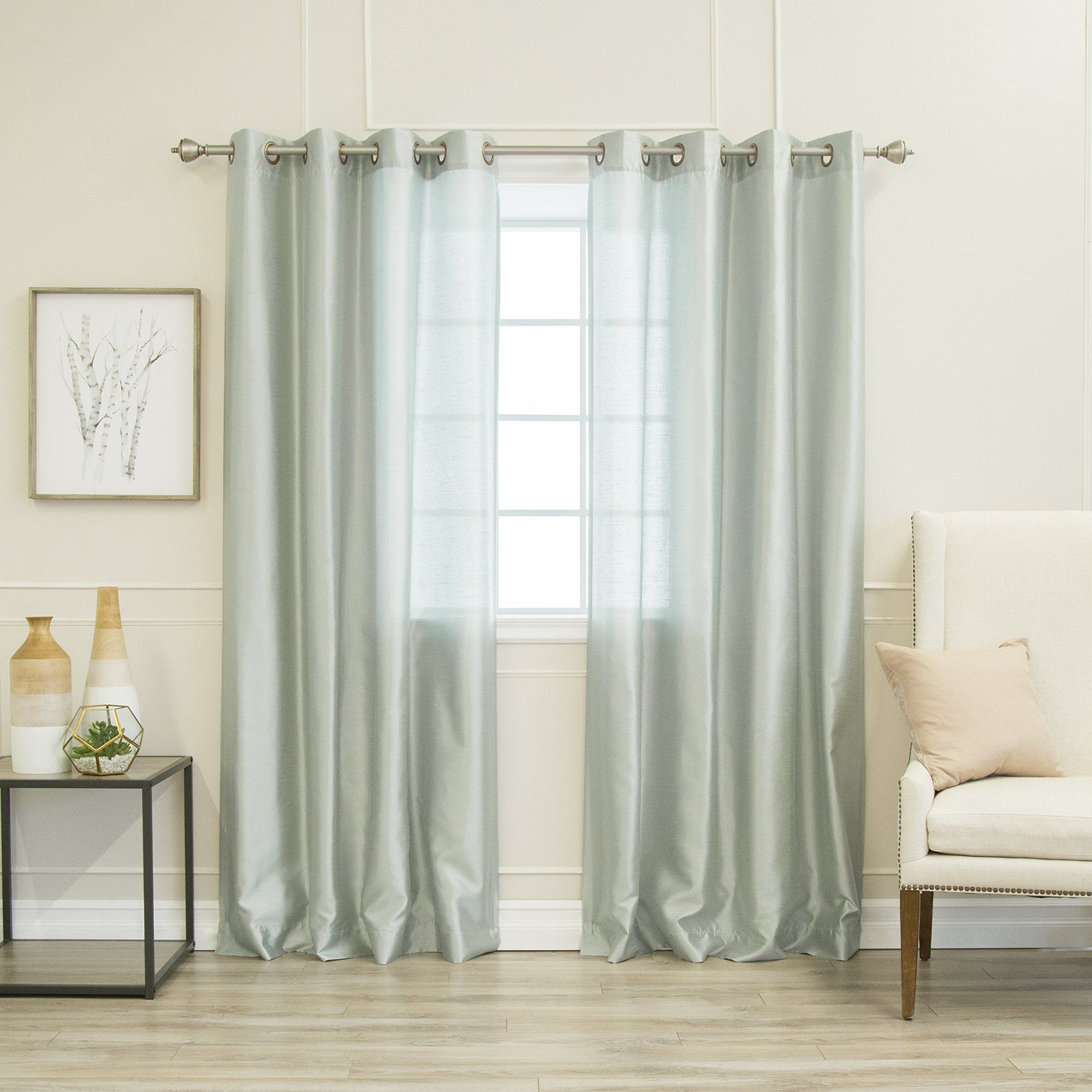 Aurora Home Faux Silk Grommet Curtain Panel Pair (Grey – 84 With Regard To Softline Trenton Grommet Top Curtain Panels (View 2 of 30)