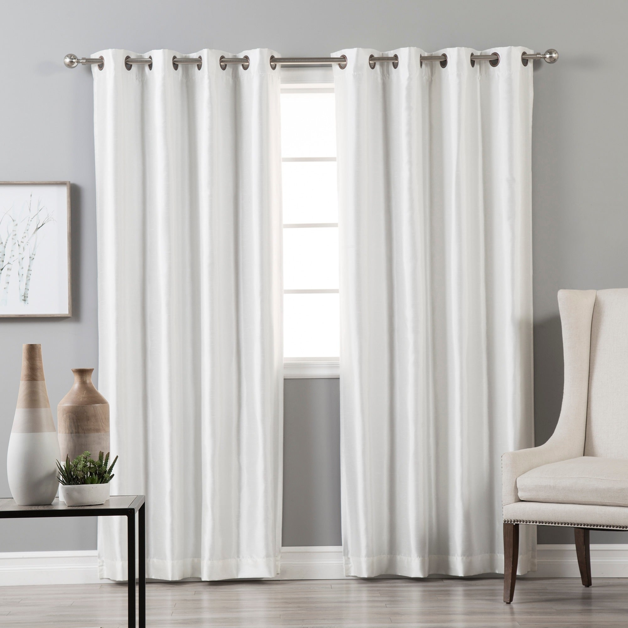 Aurora Home Grommet Top Faux Silk Blackout Curtain Panel Pair In Overseas Faux Silk Blackout Curtain Panel Pairs (View 13 of 20)