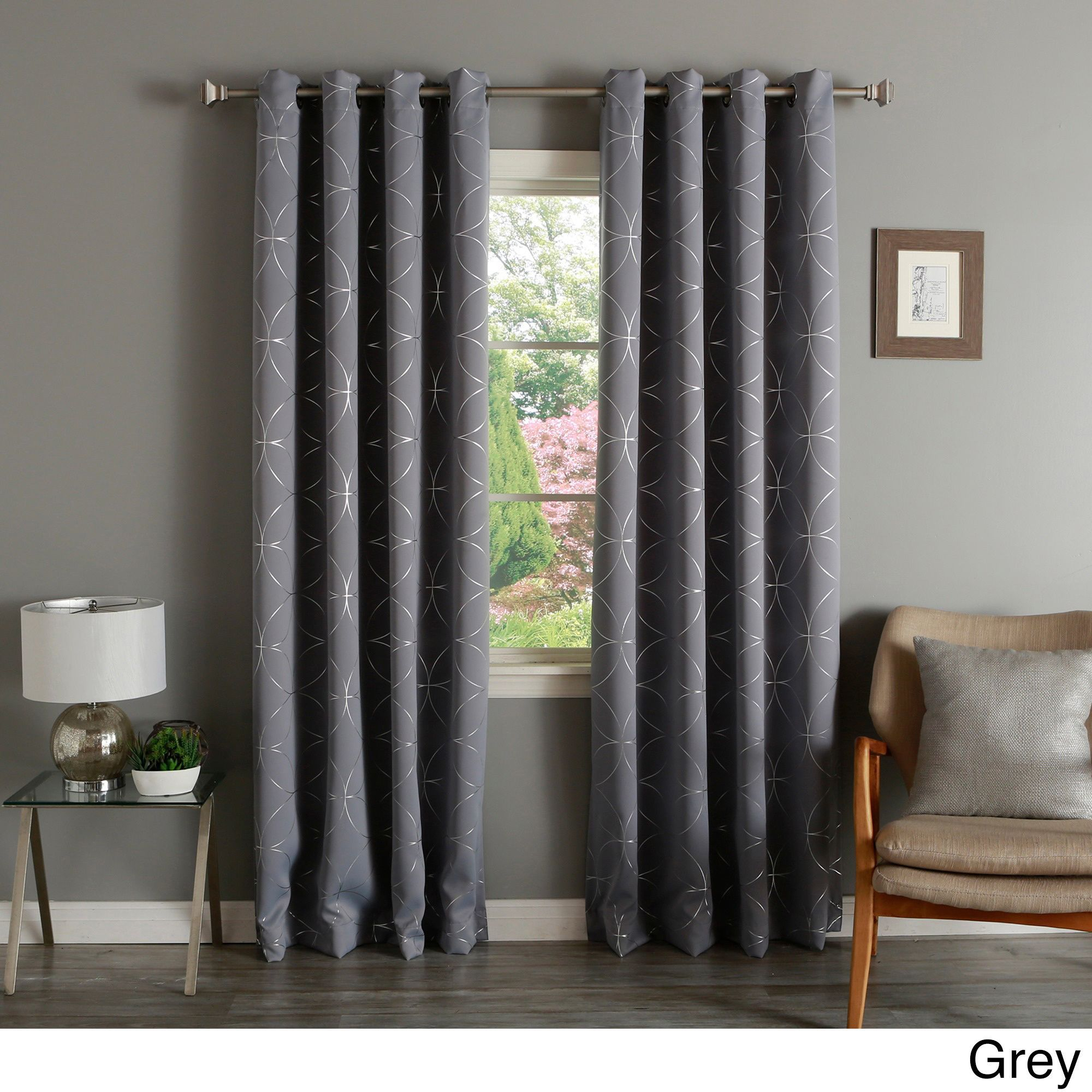 Aurora Home Linked Circle Foil Printed Blackout Curtain Intended For Whitman Curtain Panel Pairs (View 17 of 30)