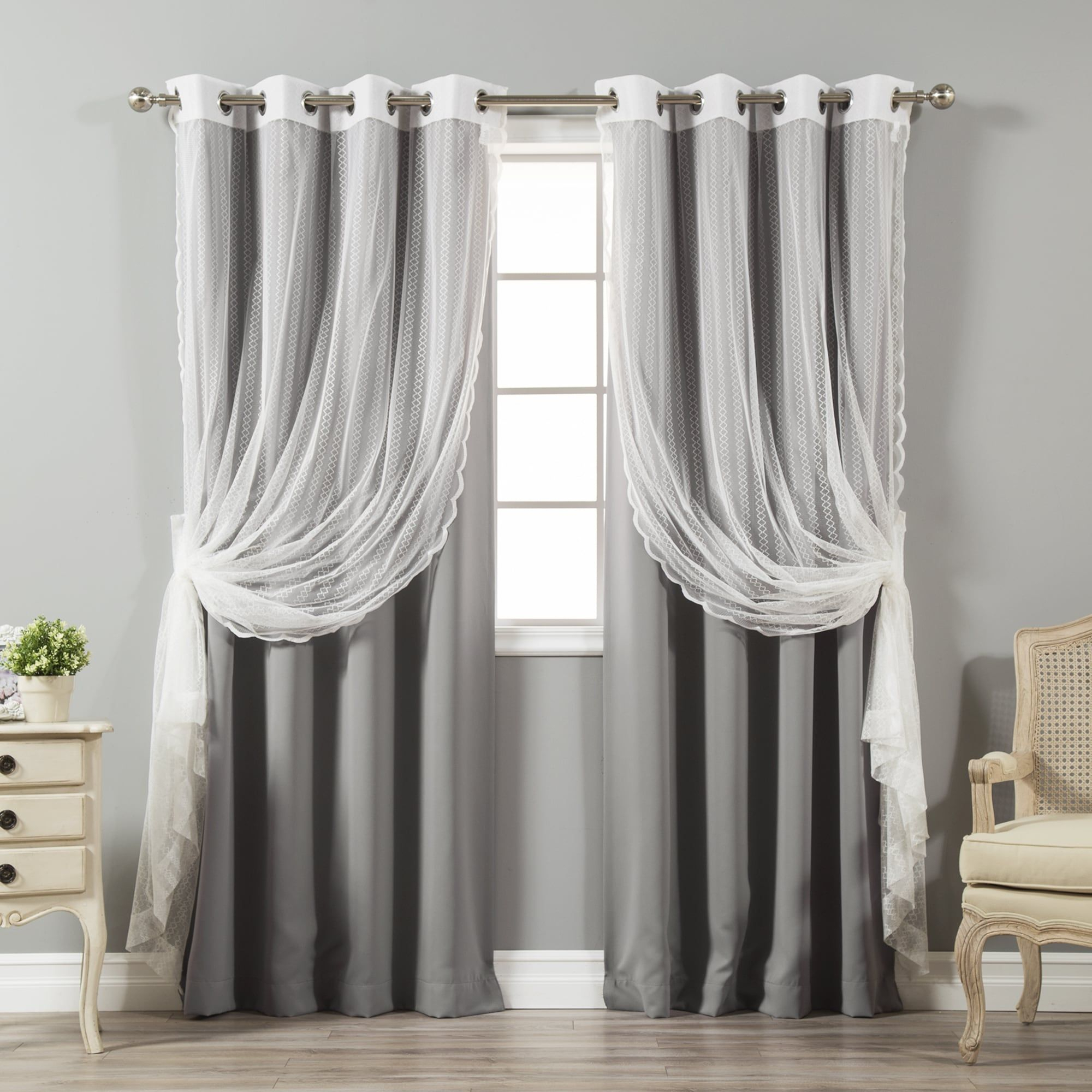 Aurora Home Mix And Match Blackout And Zigzag Lace Curtain Inside Mix And Match Blackout Blackout Curtains Panel Sets (View 5 of 20)