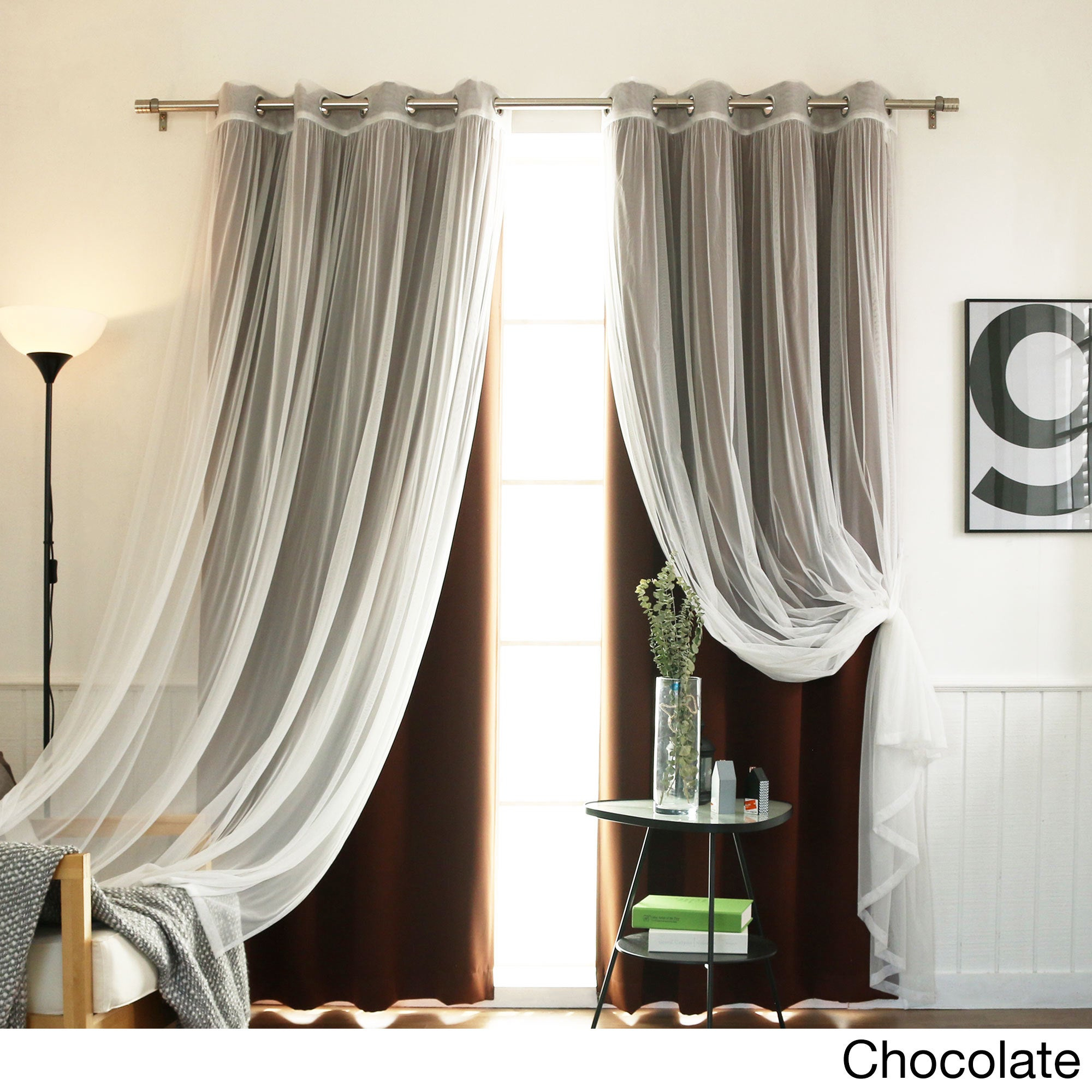 Aurora Home Mix And Match Blackout Tulle Lace Sheer 4 Piece Curtain Panel Set Inside Mix And Match Blackout Tulle Lace Sheer Curtain Panel Sets (View 6 of 20)