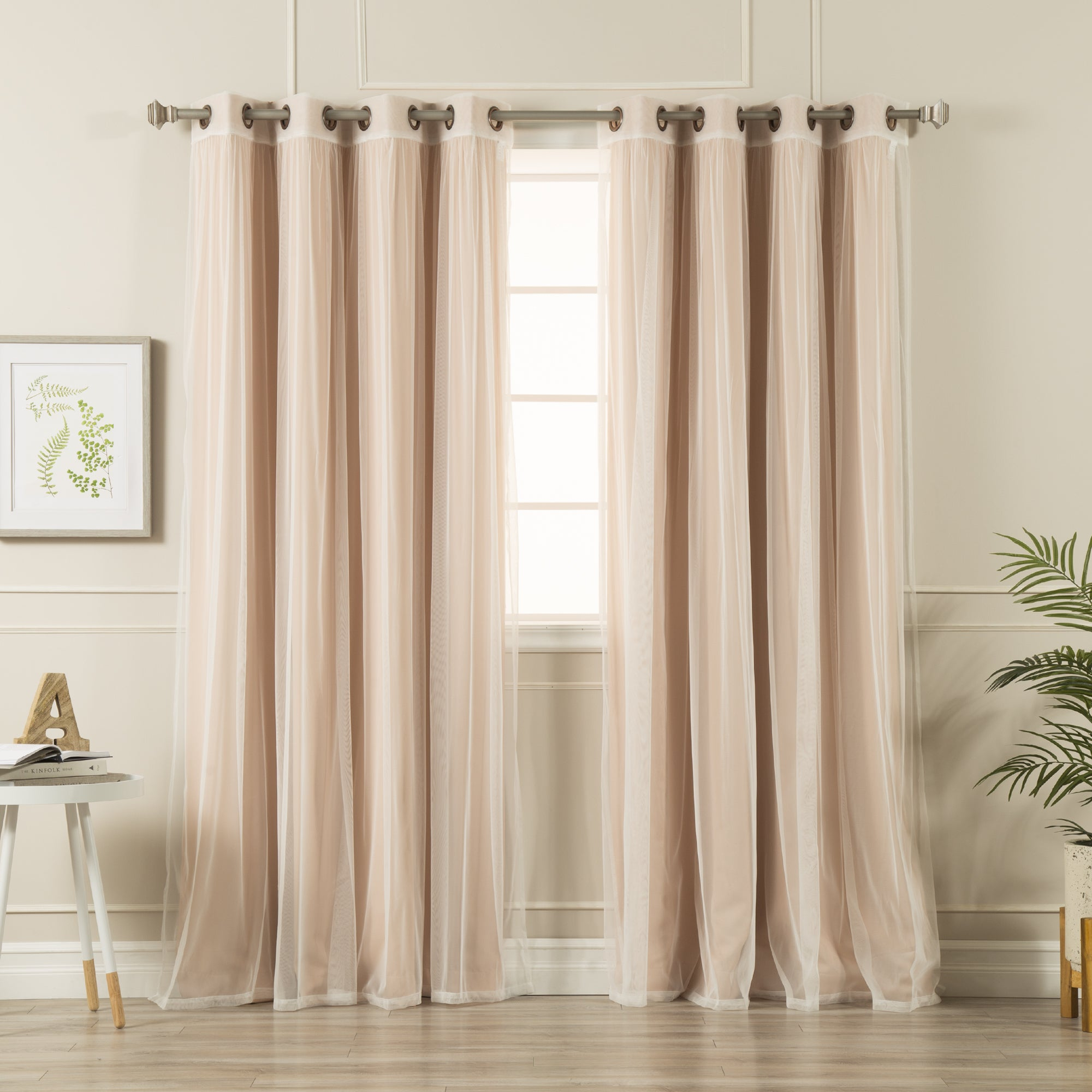 Aurora Home Mix And Match Blackout Tulle Lace Sheer 4 Piece Curtain Panel Set With Mix And Match Blackout Tulle Lace Sheer Curtain Panel Sets (View 10 of 20)